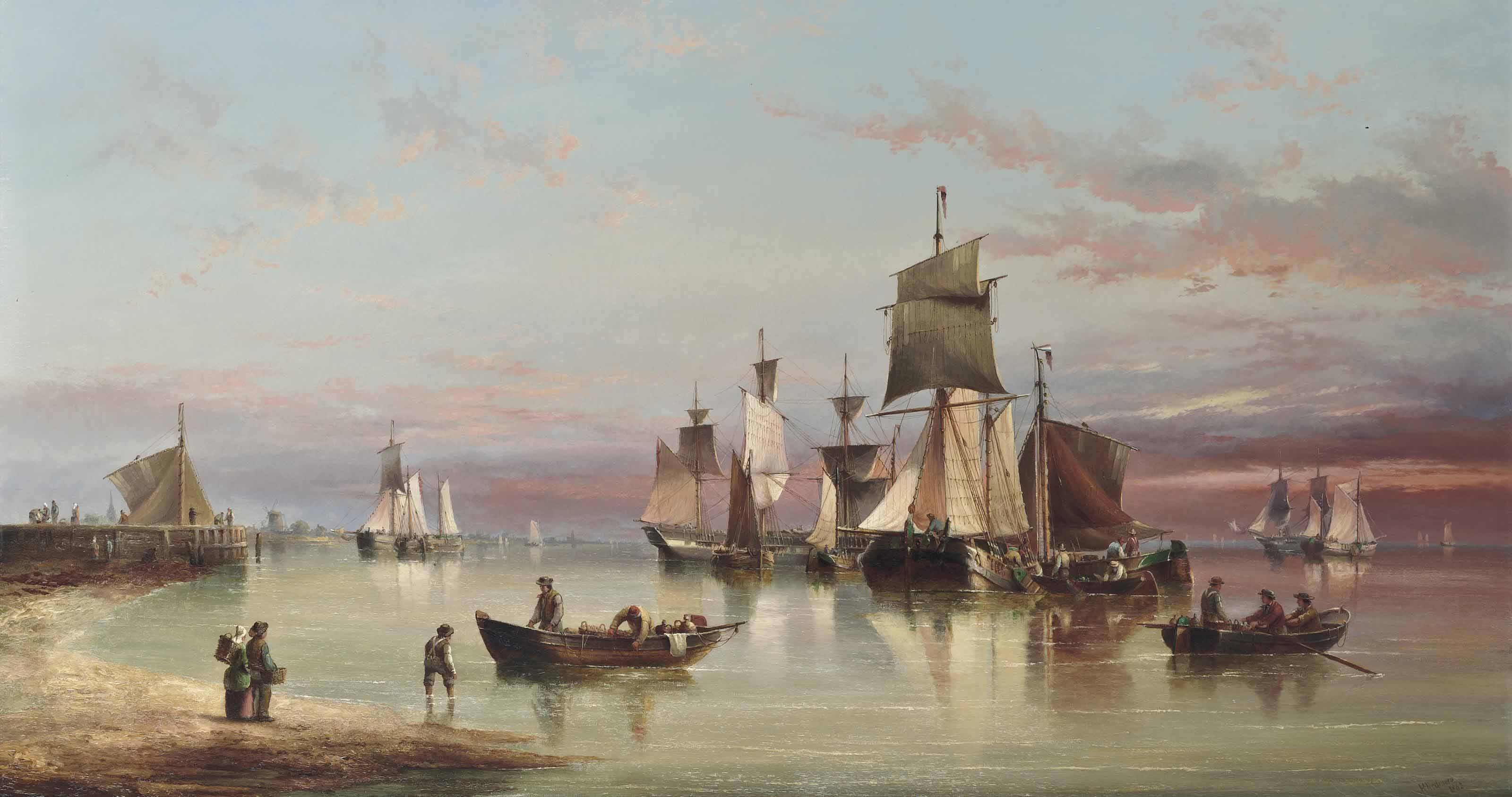 A crowded anchorage off the Low Countries at dusk