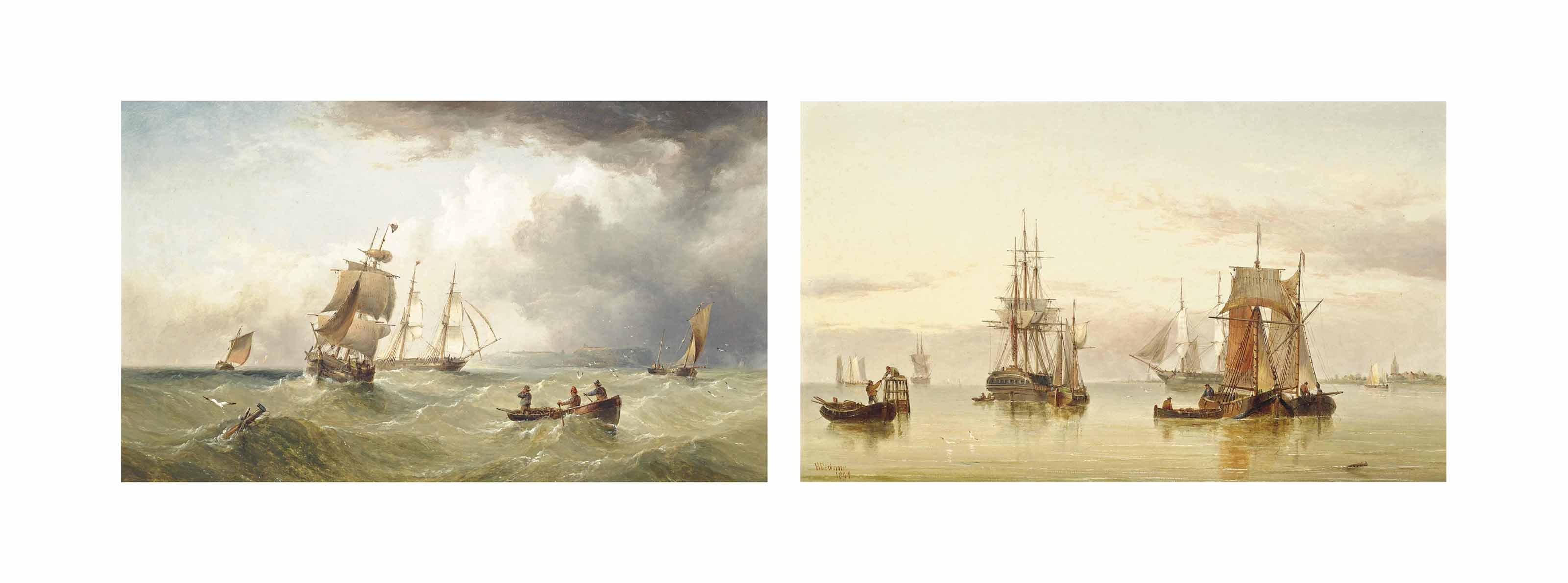 Merchant shipping in the Channel off Scarborough; and A calm day on the Humber estuary (both illustrated)
