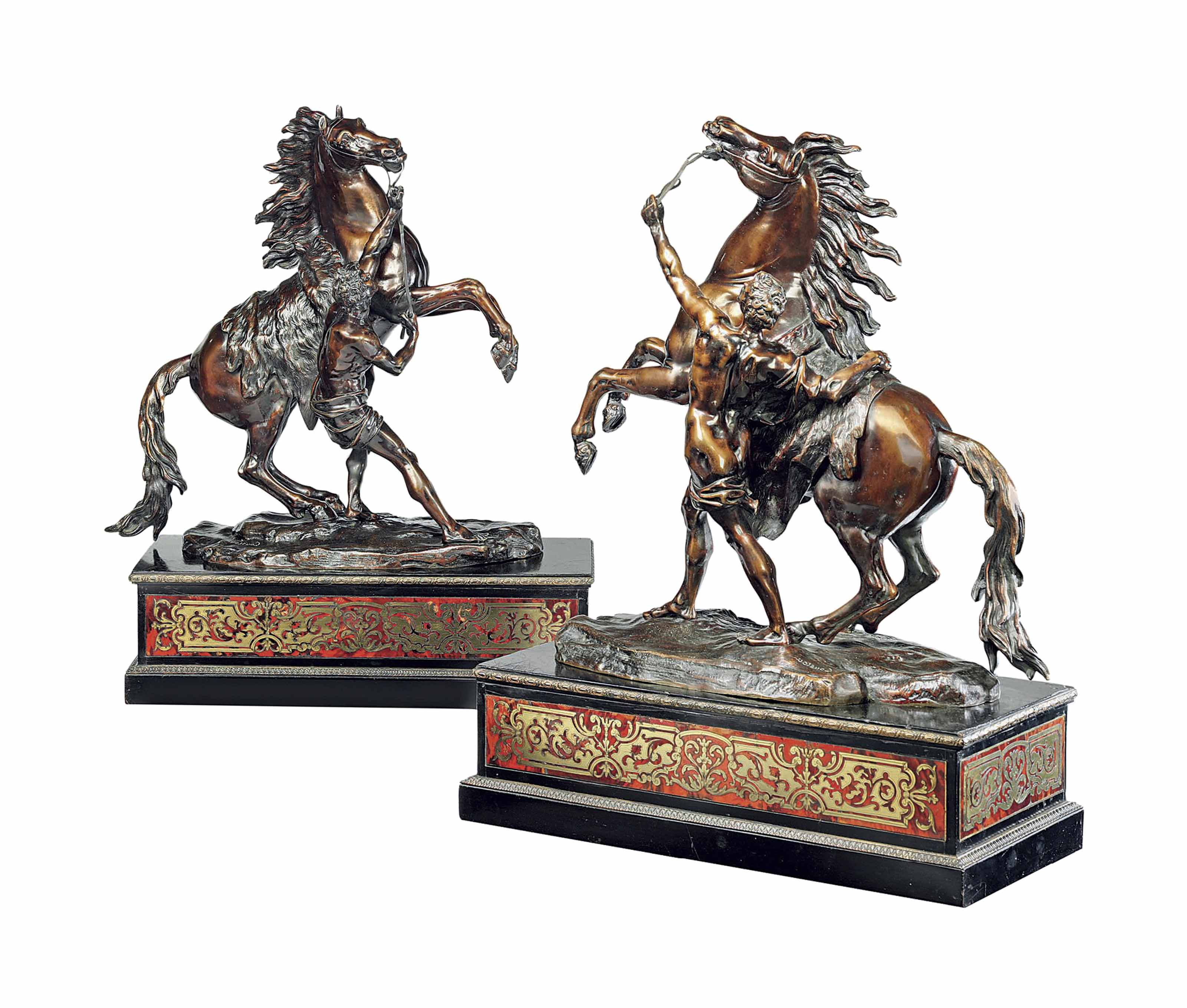 A PAIR OF FRENCH BRONZE MODELS OF THE MARLY HORSES