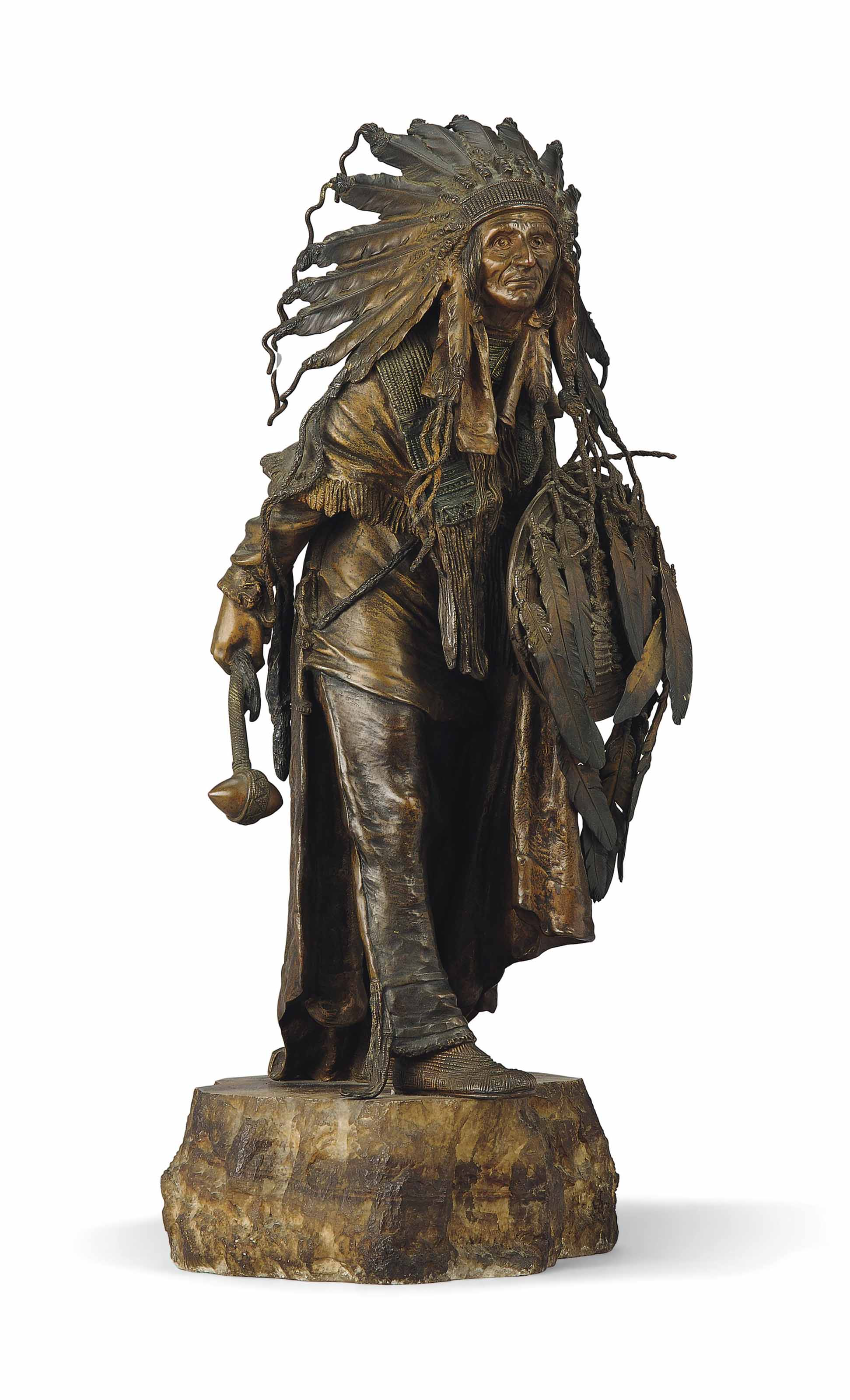 AN AUSTRIAN COLD-PAINTED BRONZE MODEL OF A NATIVE AMERICAN CHIEF ENTITLED 'AMERIKA'