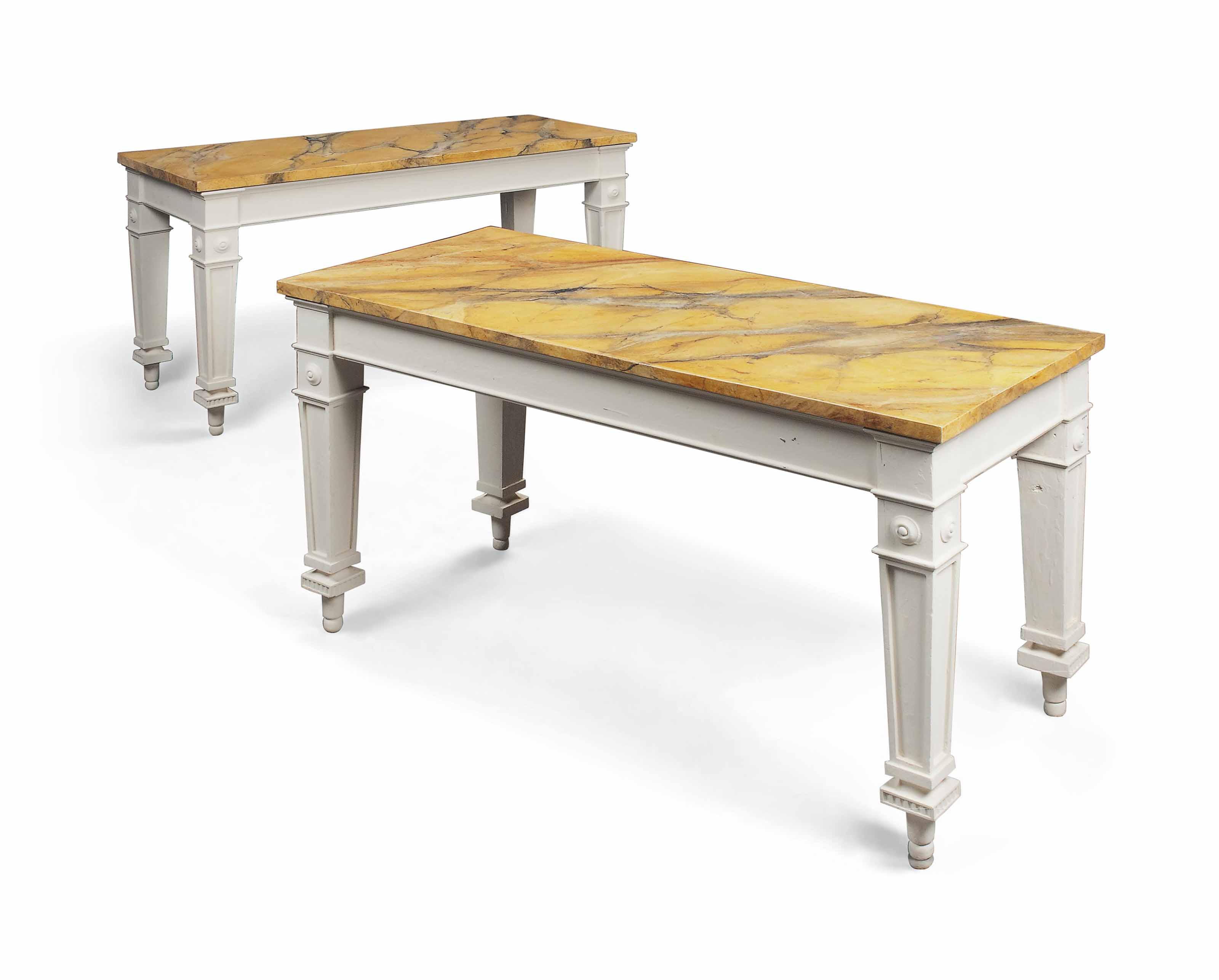 A PAIR OF WHITE PAINTED AND FAUX MARBLE SIDE TABLES