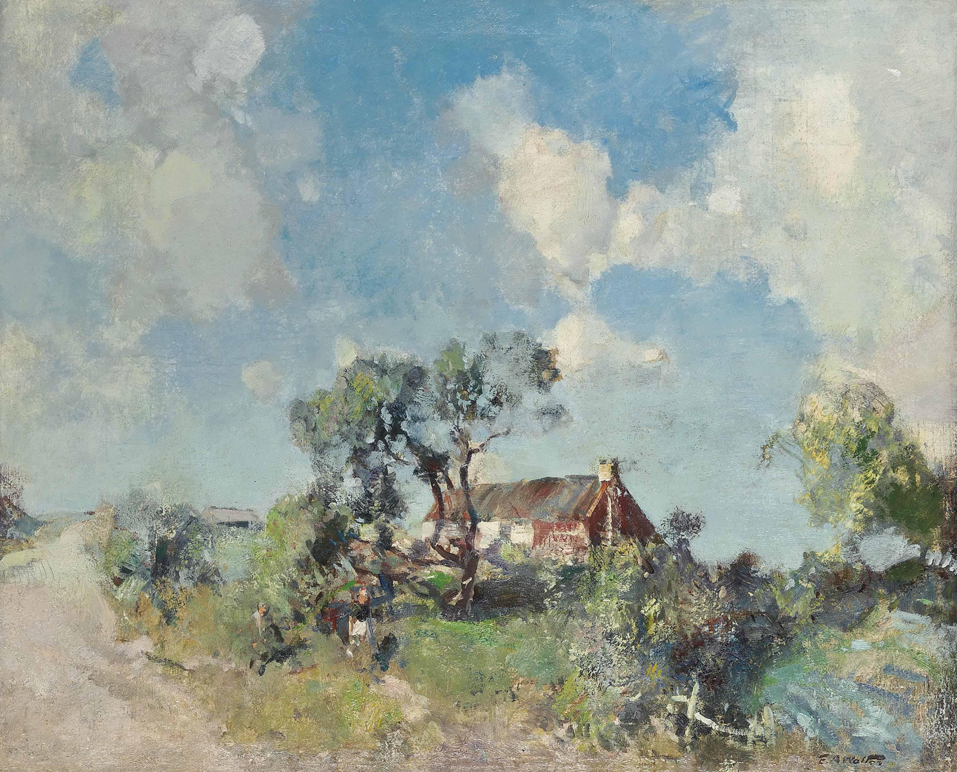 Children near a cottage