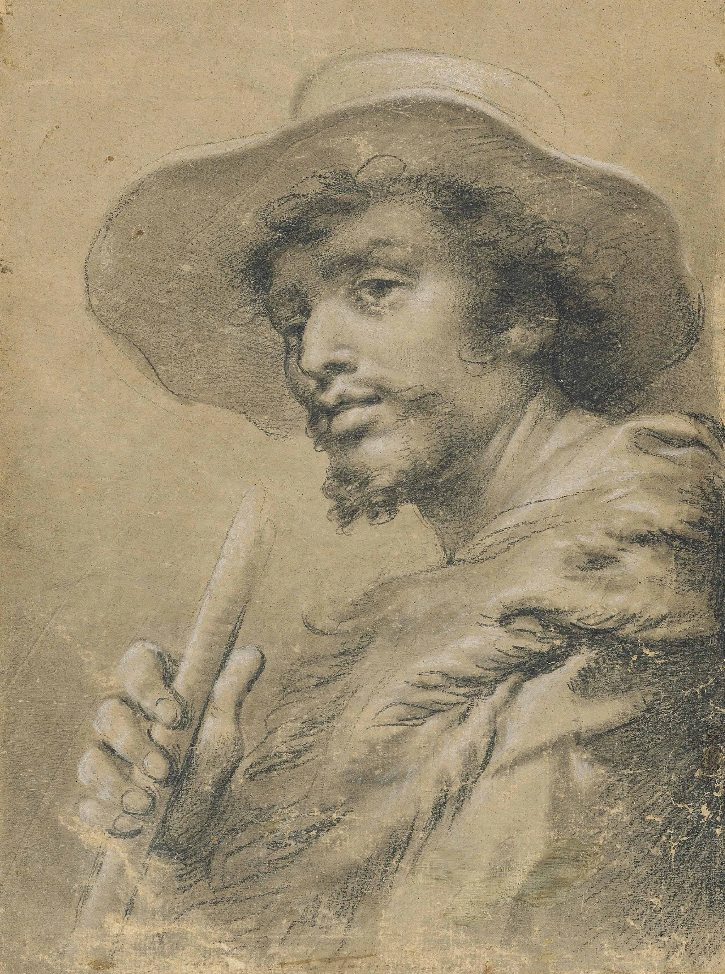 A man, half-length, wearing a hat and holding a stick in his right hand