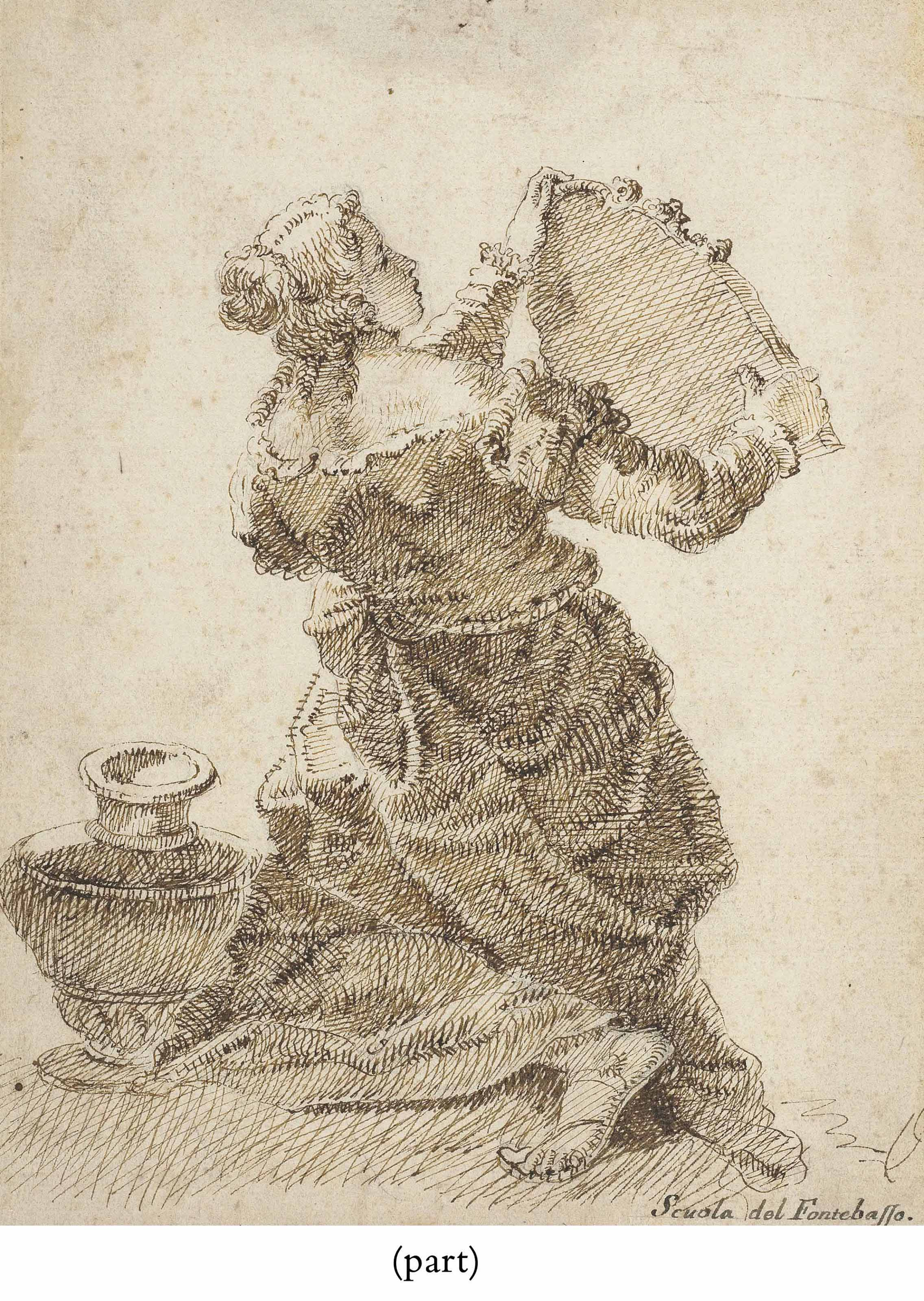 A kneeling woman holding a mirror