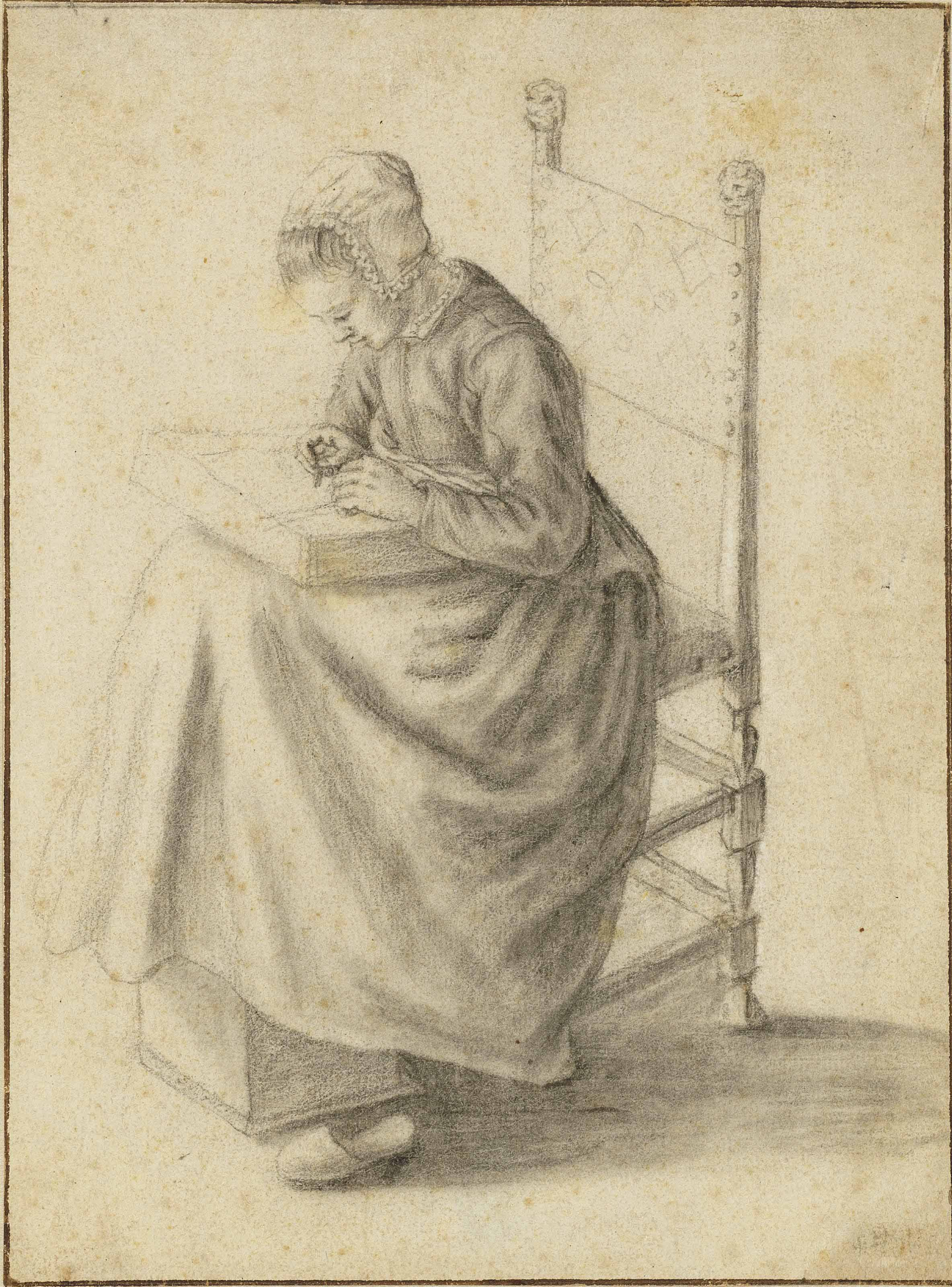 A seated girl making lace