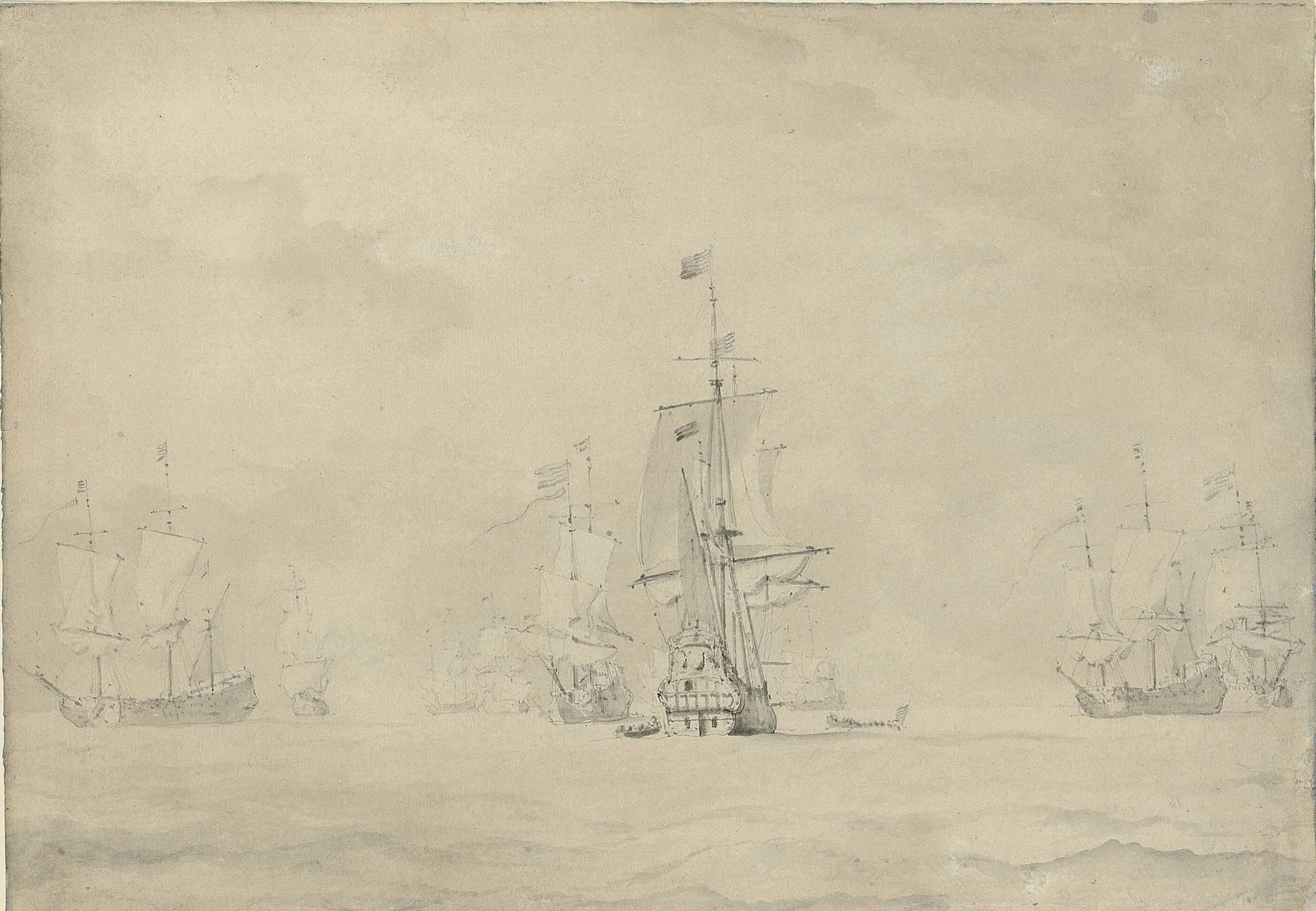 Admiral De Ruyter meeting Tromp aboard for a council of war after the Battle of Lowestoft in 1665