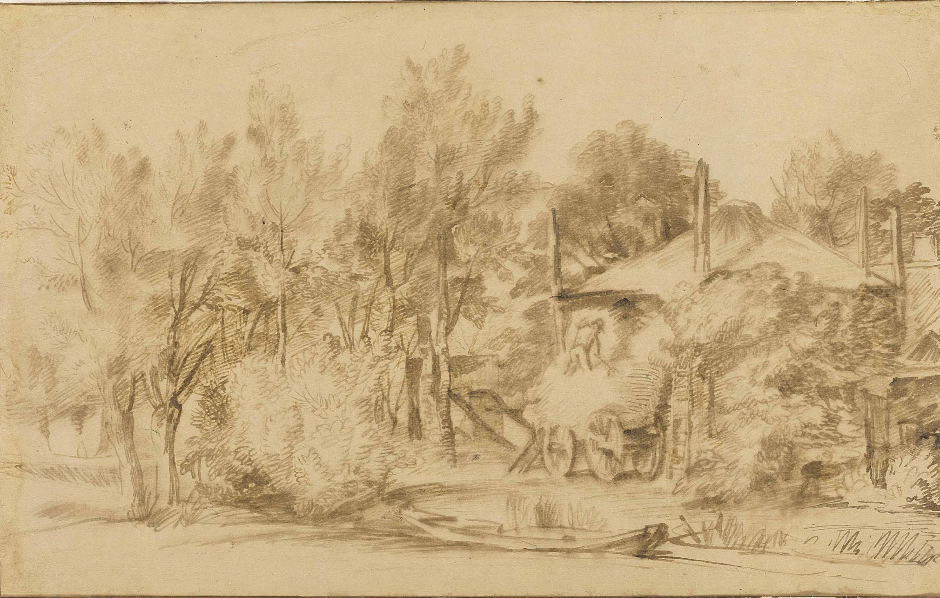 A wooded landscape with a farm and haycart
