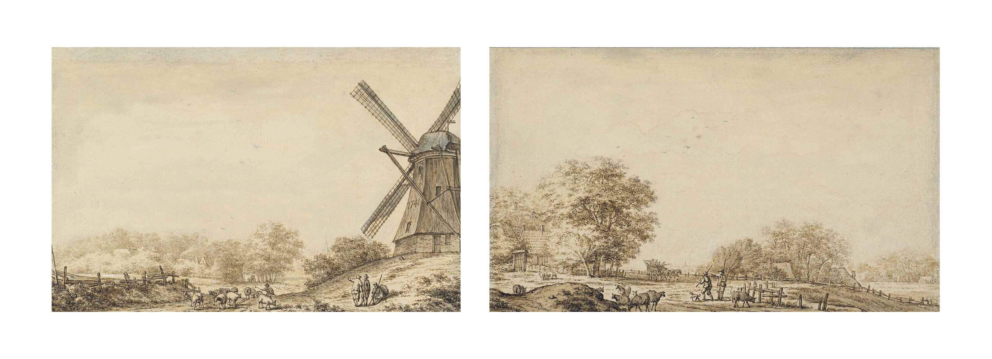 A landscape with a windmill and herdsmen with their flock of sheep; and A landscape with herdsmen and a carriage in the background