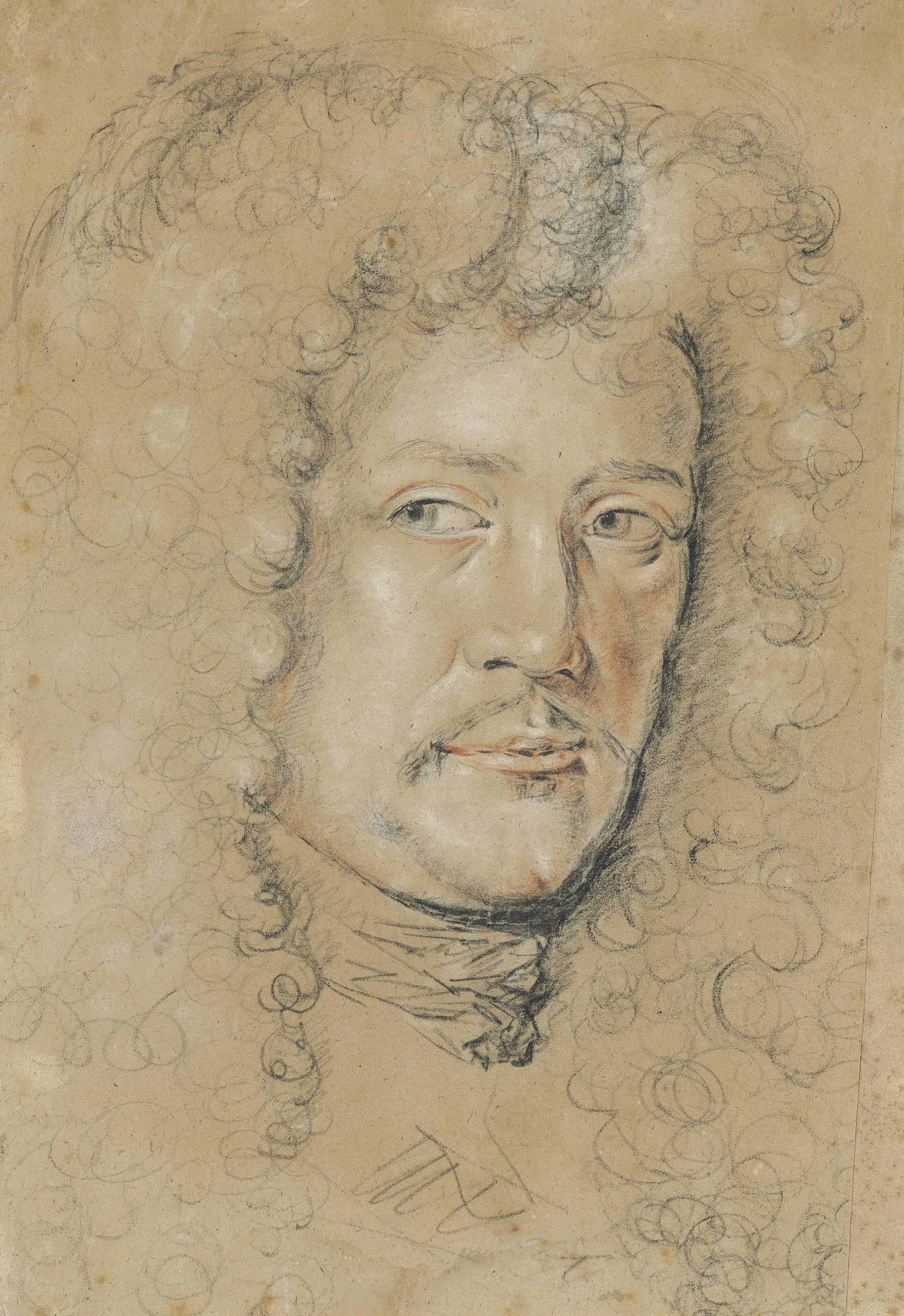 Head of a man with a moustache and wearing a wig (recto); Studies of arms and hands (verso)