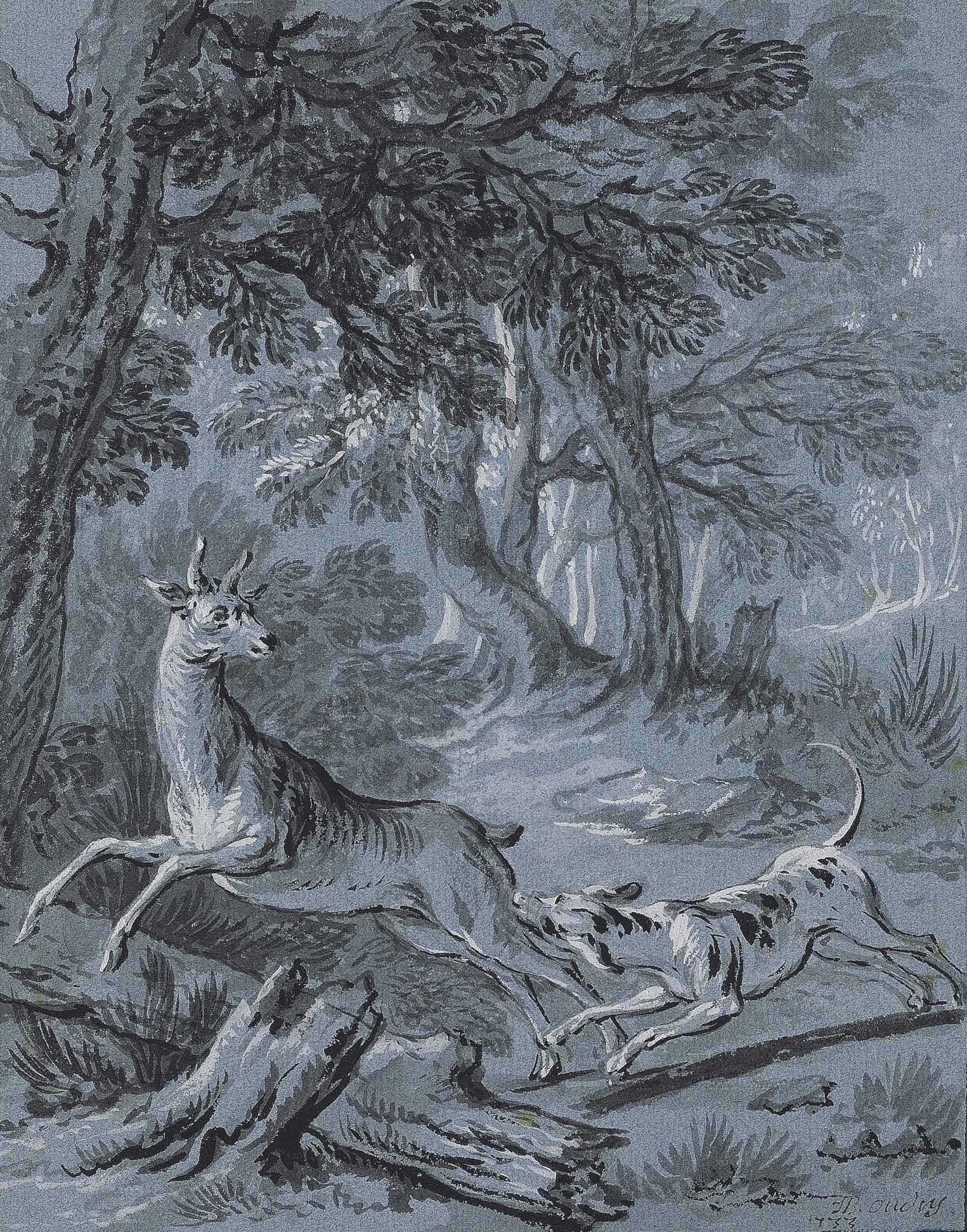 Illustration of one of the Fables of Jean de La Fontaine: The crow, the gazelle, the tortoise and the rat (I)