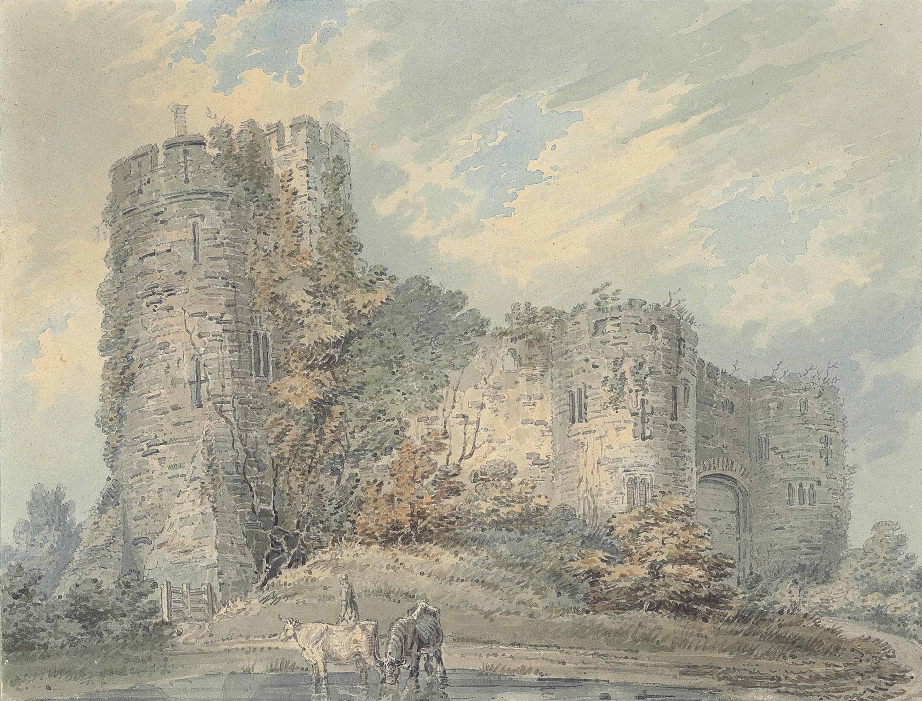 View of Chepstow Castle with cattle watering in the foreground