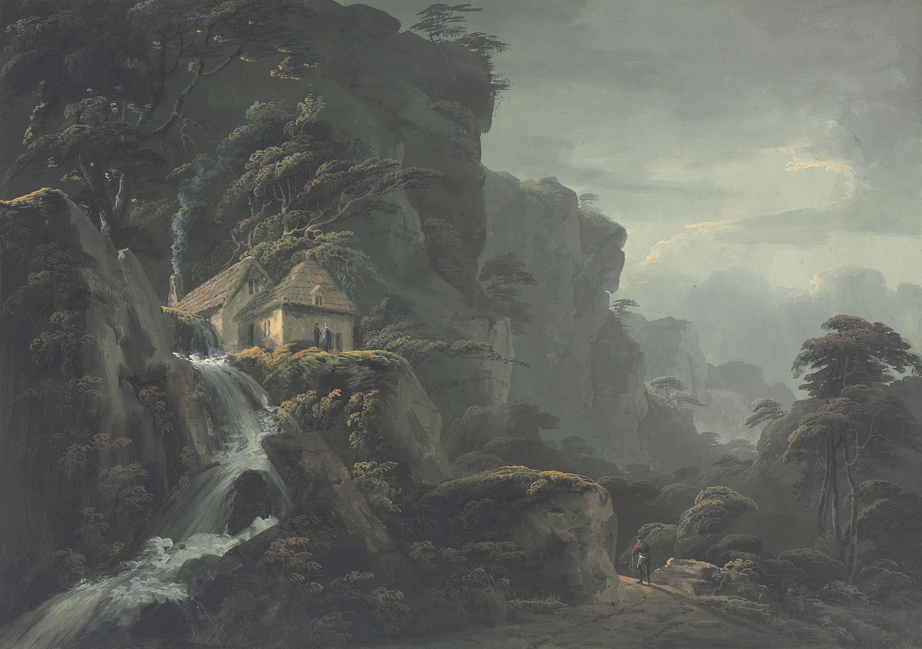 A mountain landscape with a torrent