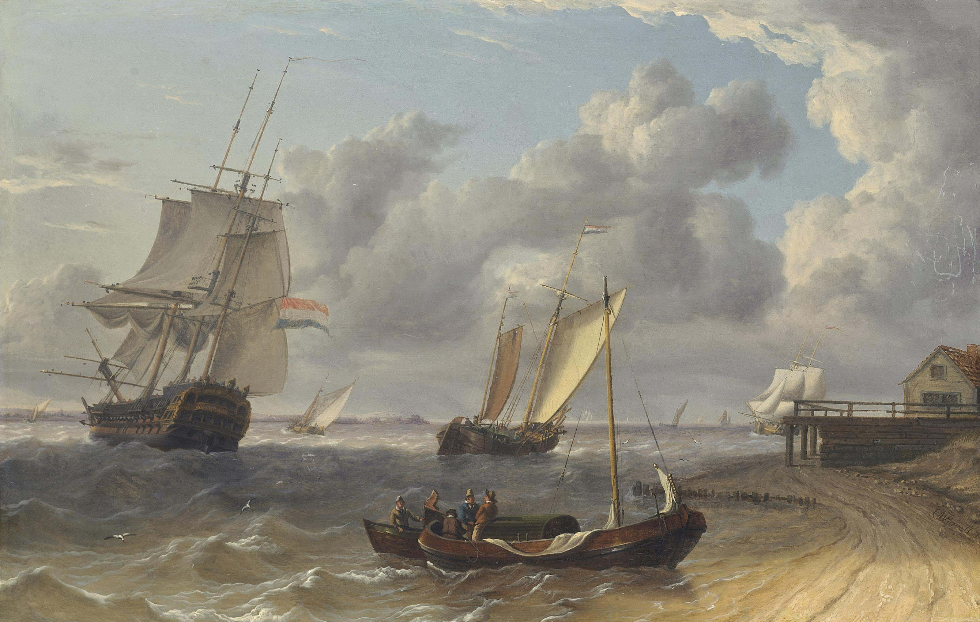 Dutch frigate and hoys in a stiff breeze of the Low Countries