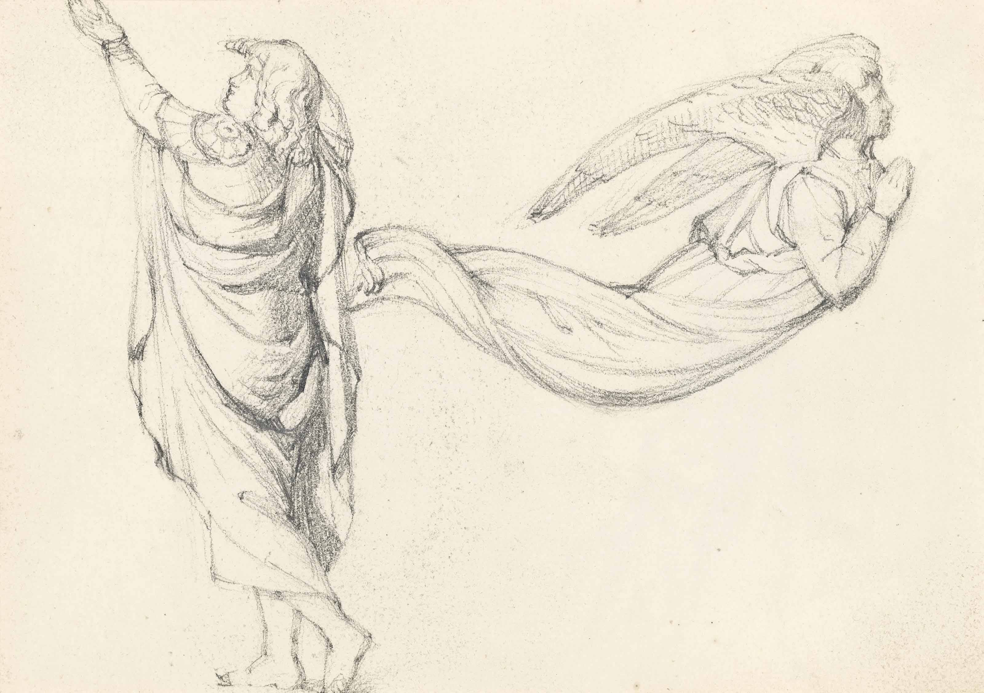 A figure study with an angel (recto) (illustrated) and mother and child (verso)