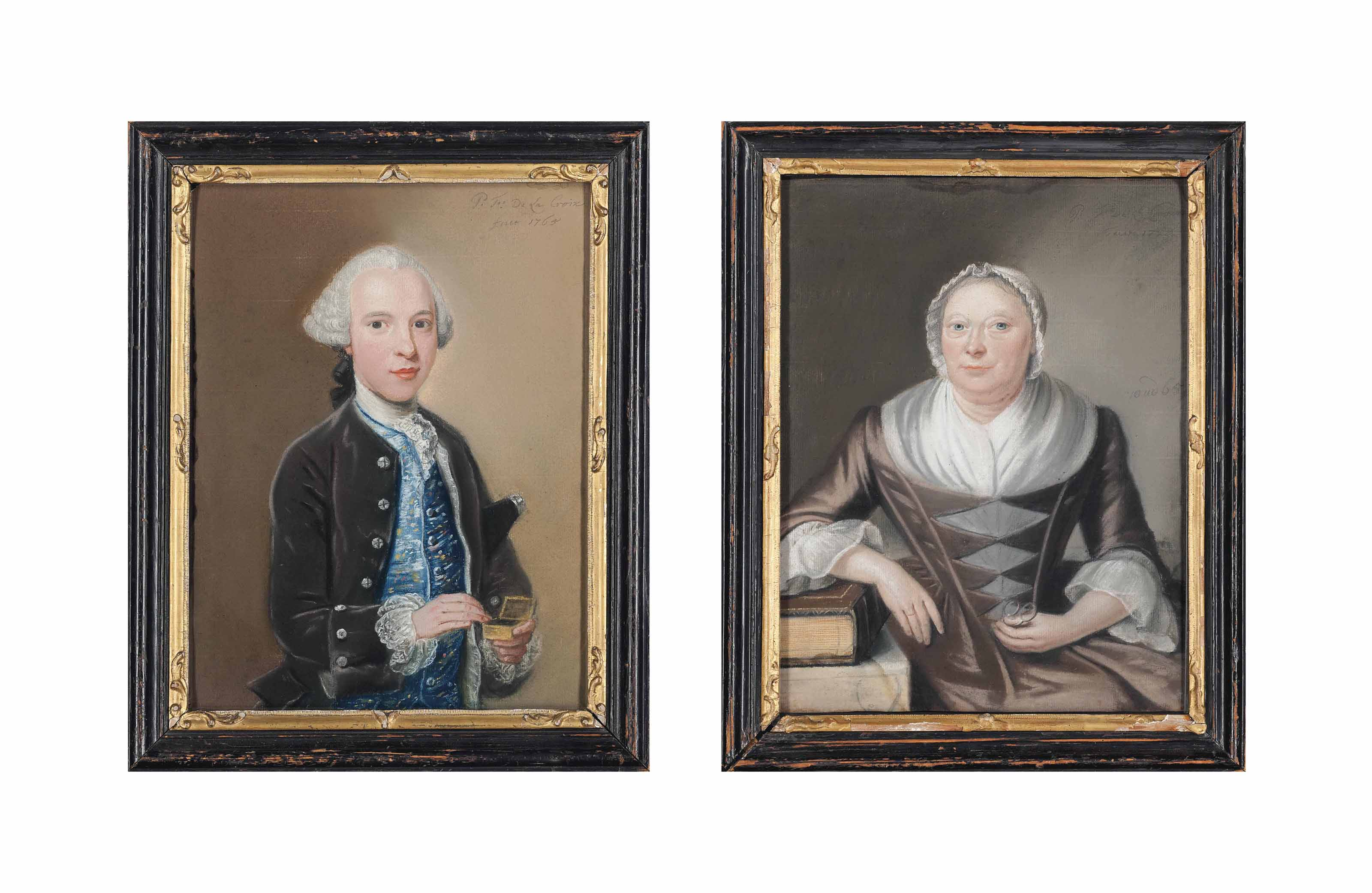 Portrait of Jan Jacob van Royen (1744-1773) holding a snuff box with his hat under his arm; And a portrait of a lady, also of the van Royen family, holding her glasses with her arm resting on a book