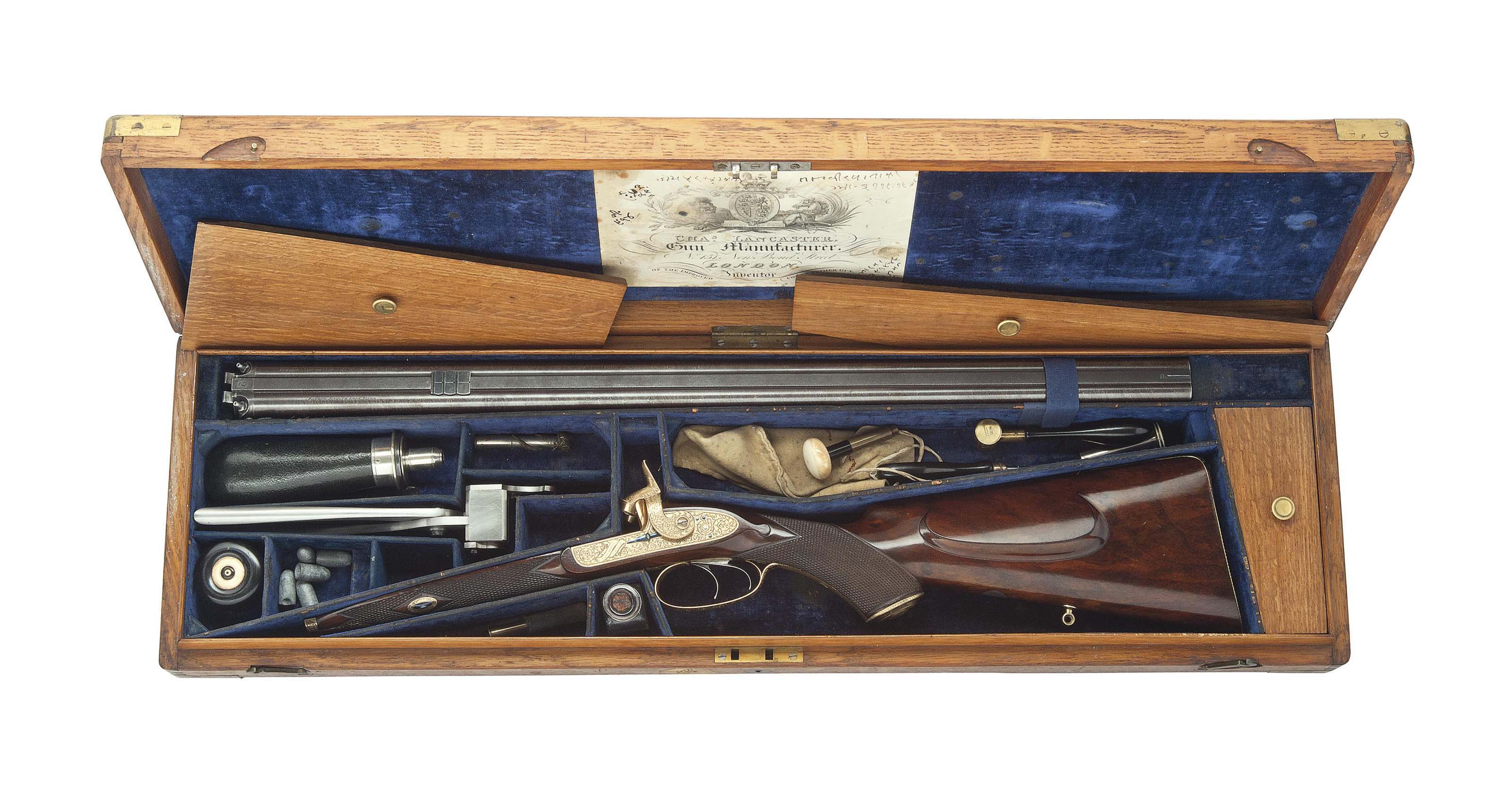 A MAGNIFICENT CASED 40-BORE DOUBLE-BARRELLED PERCUSSION OVAL-BORE RIFLE MADE FOR THE MAHARAJA OF JODPHUR