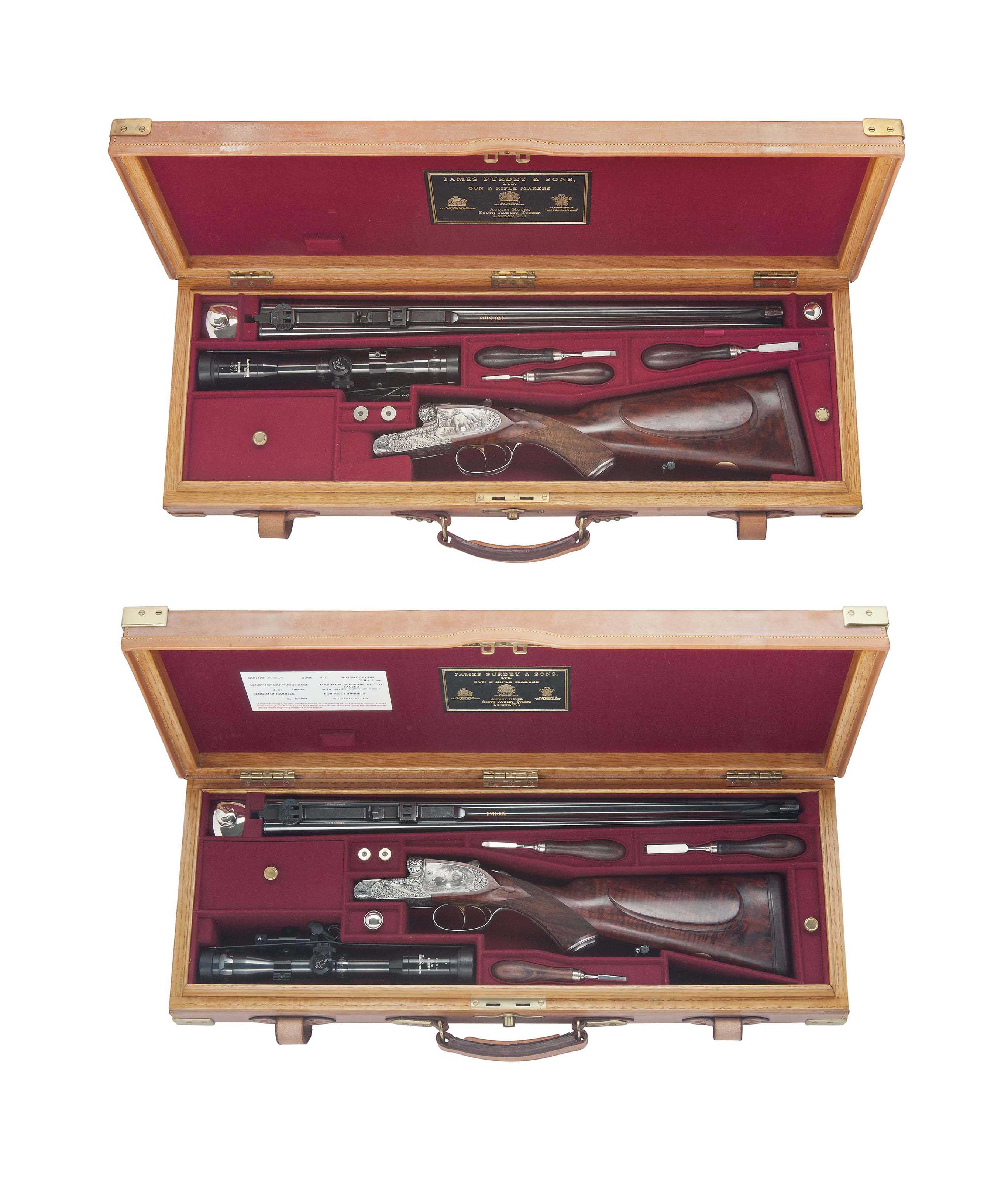 A MAGNIFICENT NEW & UNUSED PAIR OF COGGAN ENGRAVED 'SPECIAL LARGE SCROLL' SELF-OPENING SIDELOCK EJECTOR DOUBLE RIFLES RESPECTIVELY CHAMBERED FOR .470 (NITRO EXPRESS) AND .300 (H & H MAGNUM)
