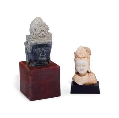 TWO CHINESE CARVED HEADS OF GU