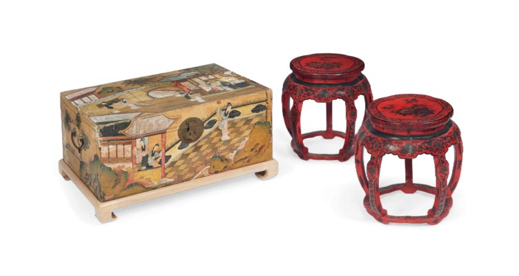 A PAIR OF RED JAPANNED LOW URN
