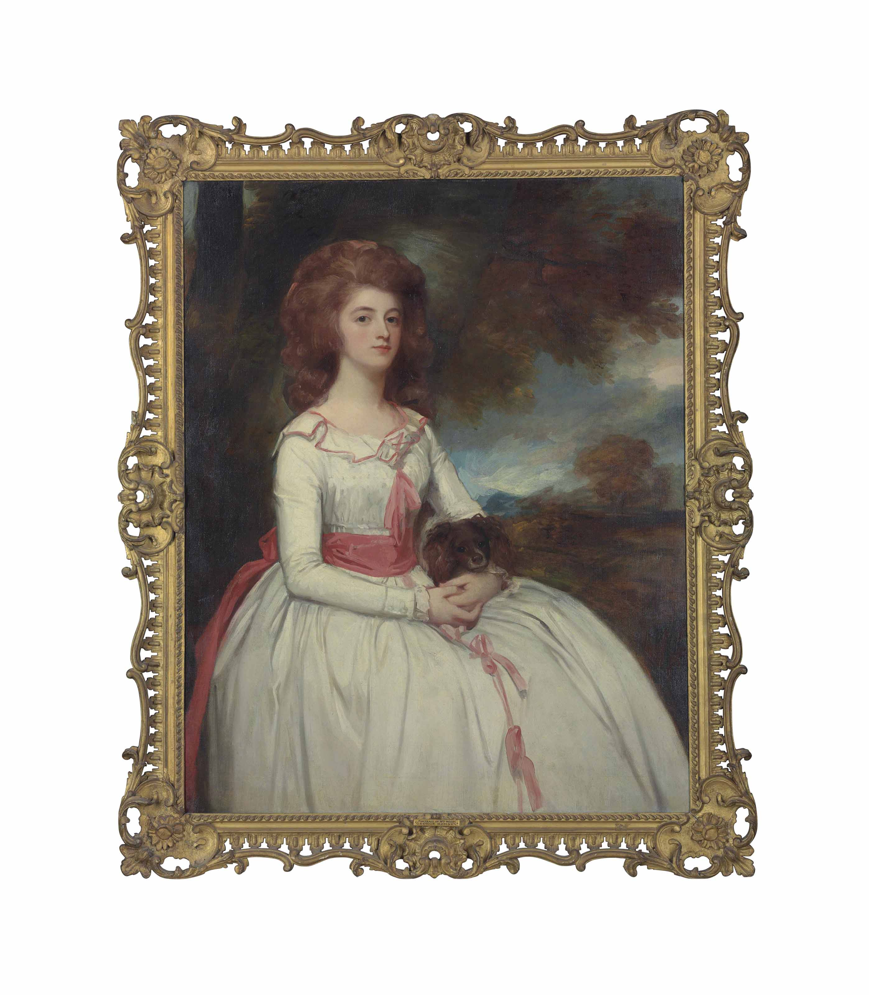 Portrait of Mrs Moody (c.1767-1820), second wife of Samuel Moody, three-quarter-length, in a white dress trimmed with pink bows and a pink sash, holding a dog in her lap, in a landscape