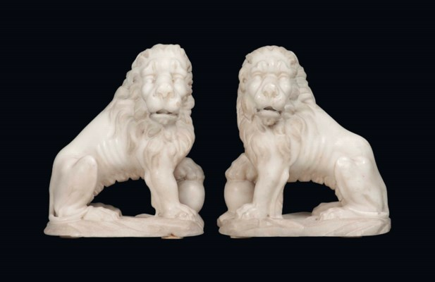 A PAIR OF FLEMISH WHITE MARBLE
