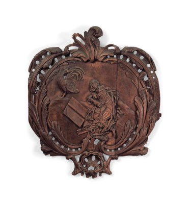 A FRENCH CARVED OAK PANEL OF S