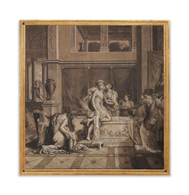 A french neo classical en grisaille wallpaper panel - Grisaille wallpaper ...