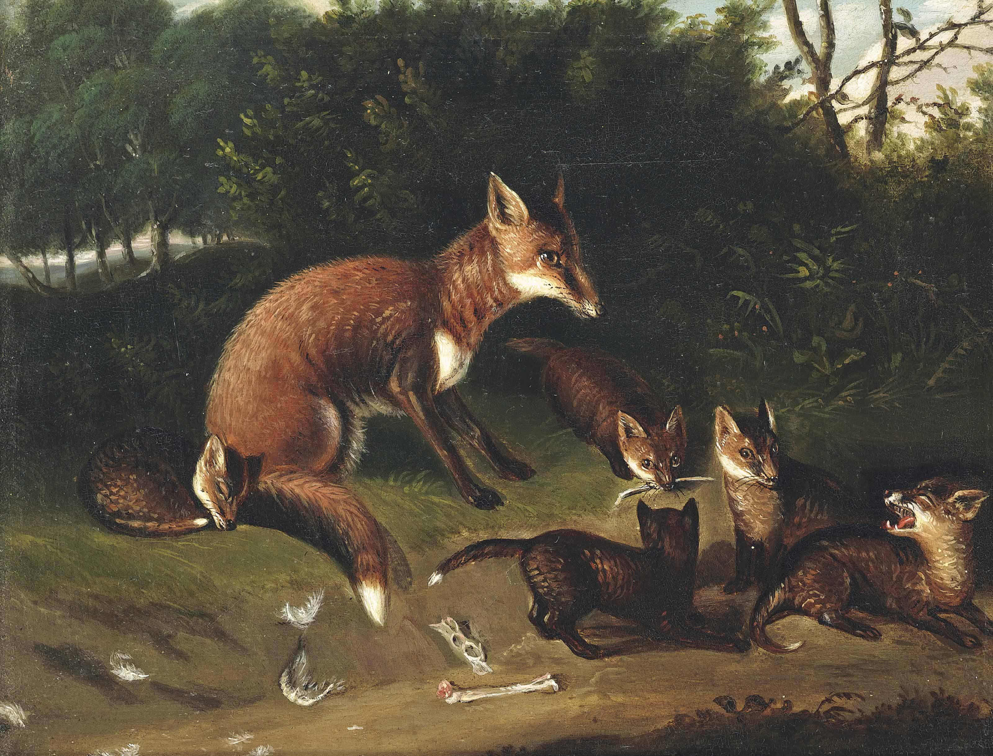 A vixen and her cubs