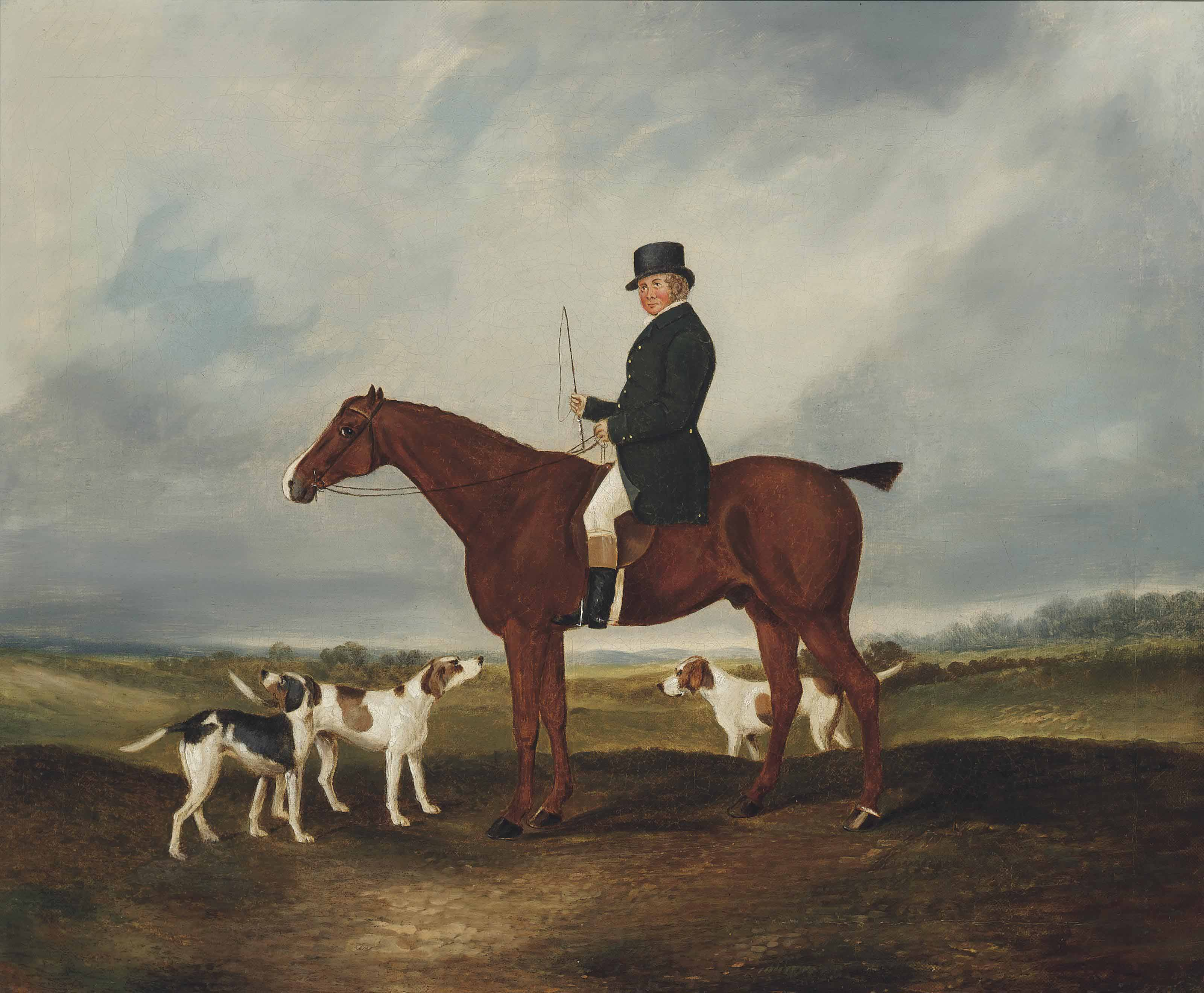 Thomas Rounding on his favourite hunter, Spankaway, with Gladsome, Governess and Syren, staghounds of the Epping Forest Hunt