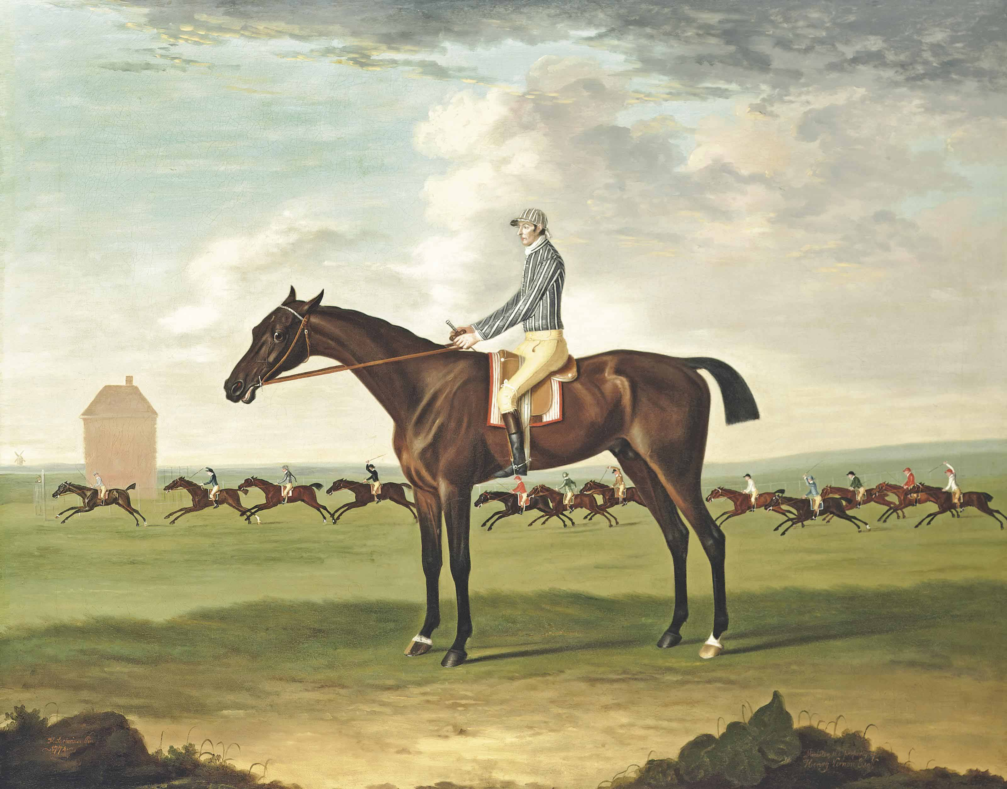 Mr Henry Vernon's bay colt Minister by Camillus out of Sportley with jockey up at Newmarket, 1774
