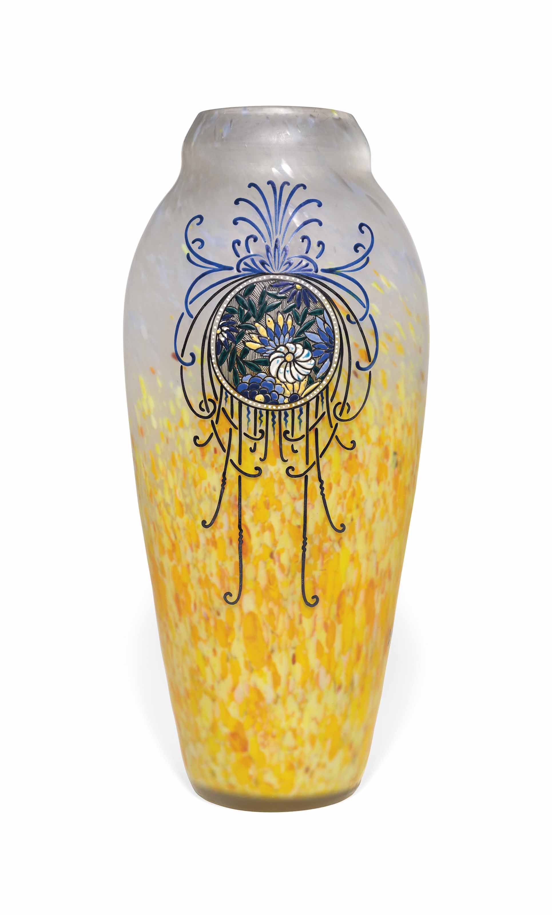 A LARGE LEGRAS CASED AND ENAMELLED GLASS VASE