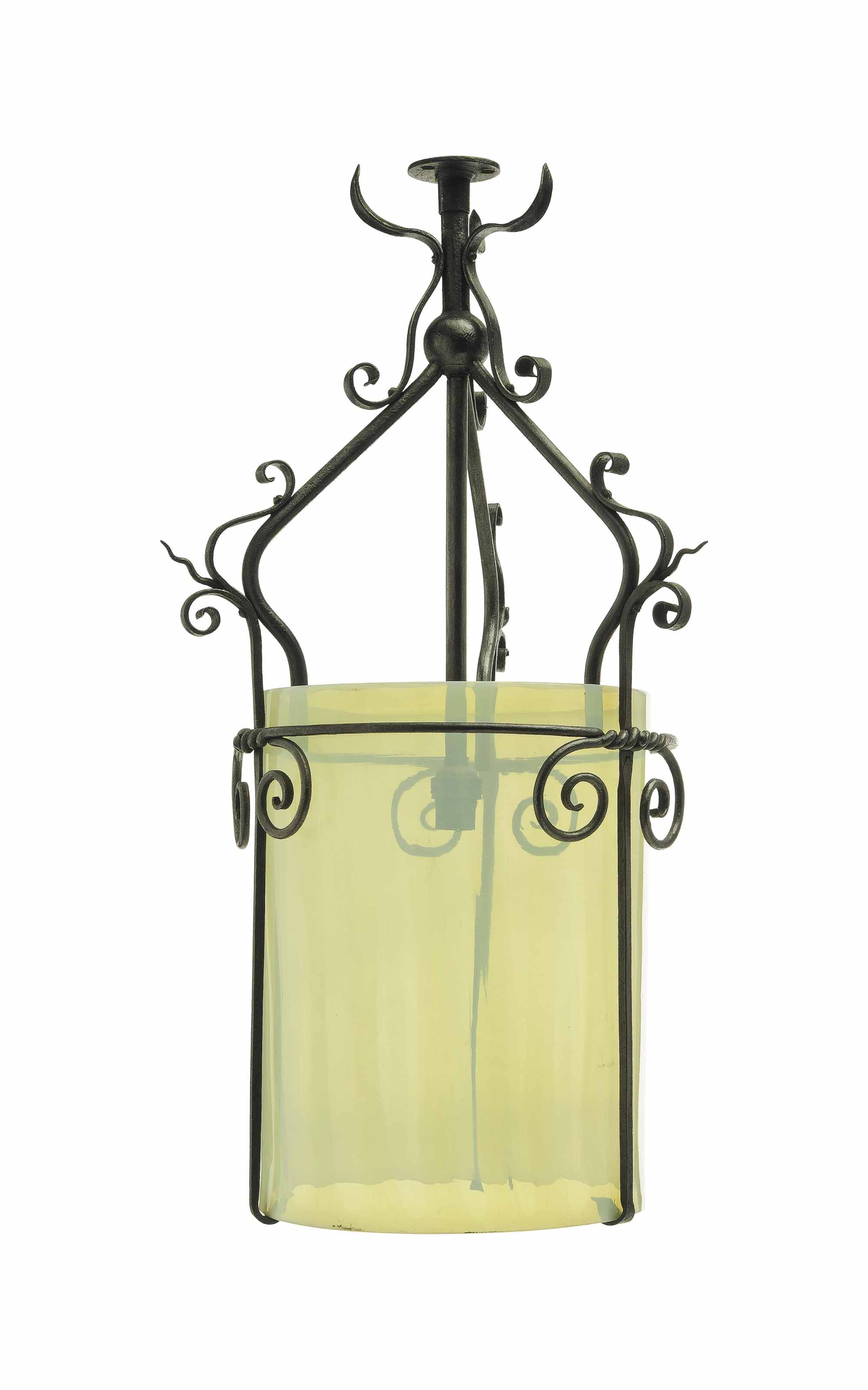AN ARTS & CRAFTS WROUGHT-IRON AND VASELINE GLASS CEILING LIGHT, ATTRIBUTED TO W.A.S. BENSON