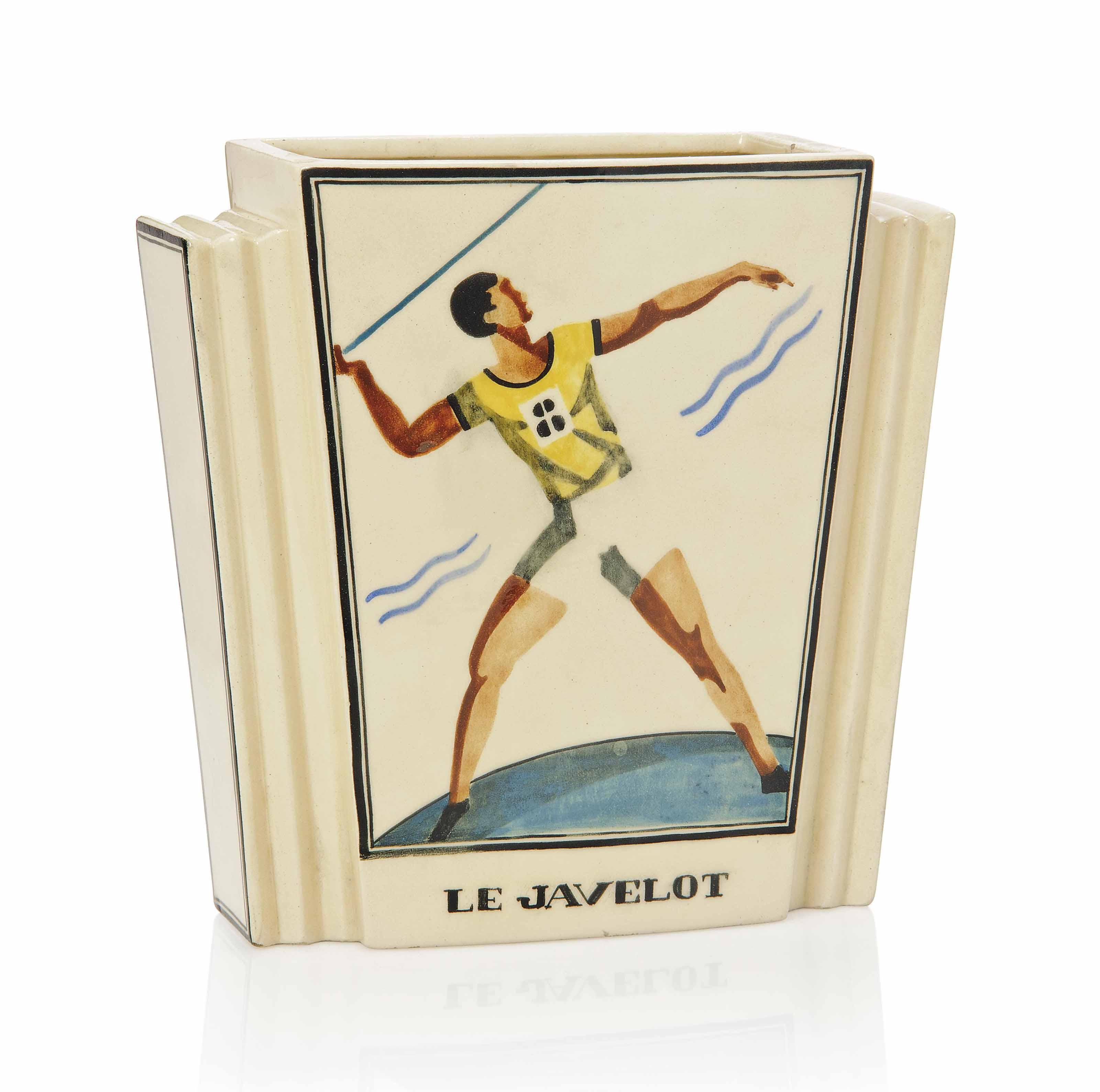 'LE JAVELOT', A ROBERT LALLEMANT (1902-1954) EARTHENWARE VASE