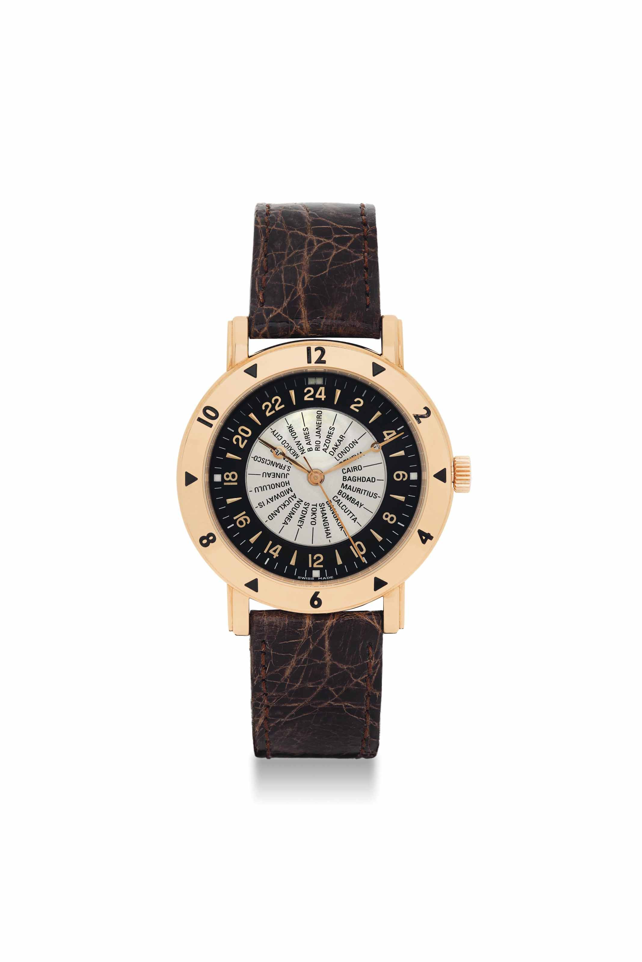 WALDAN INTERNATIONAL. AN 18K PINK GOLD AUTOMATIC WORLD TIME WRISTWATCH WITH SWEEP CENTRE SECONDS