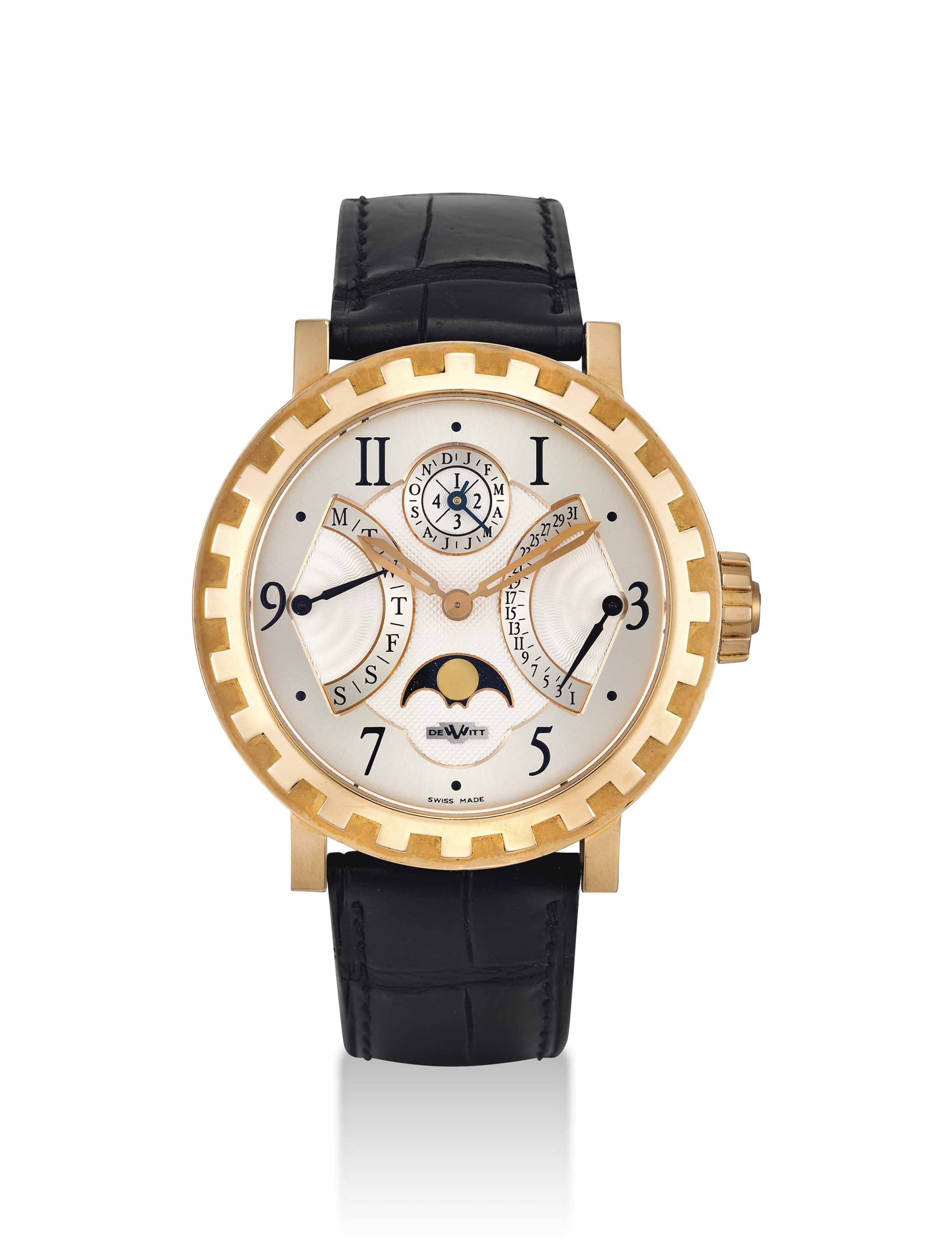 DEWITT. A FINE 18K PINK GOLD LIMITED EDITION AUTOMATIC PERPETUAL CALENDAR WRISTWATCH WITH BI-RETROGRADE DATE AND DAY, MOON PHASES AND LEAP YEAR INDICATION