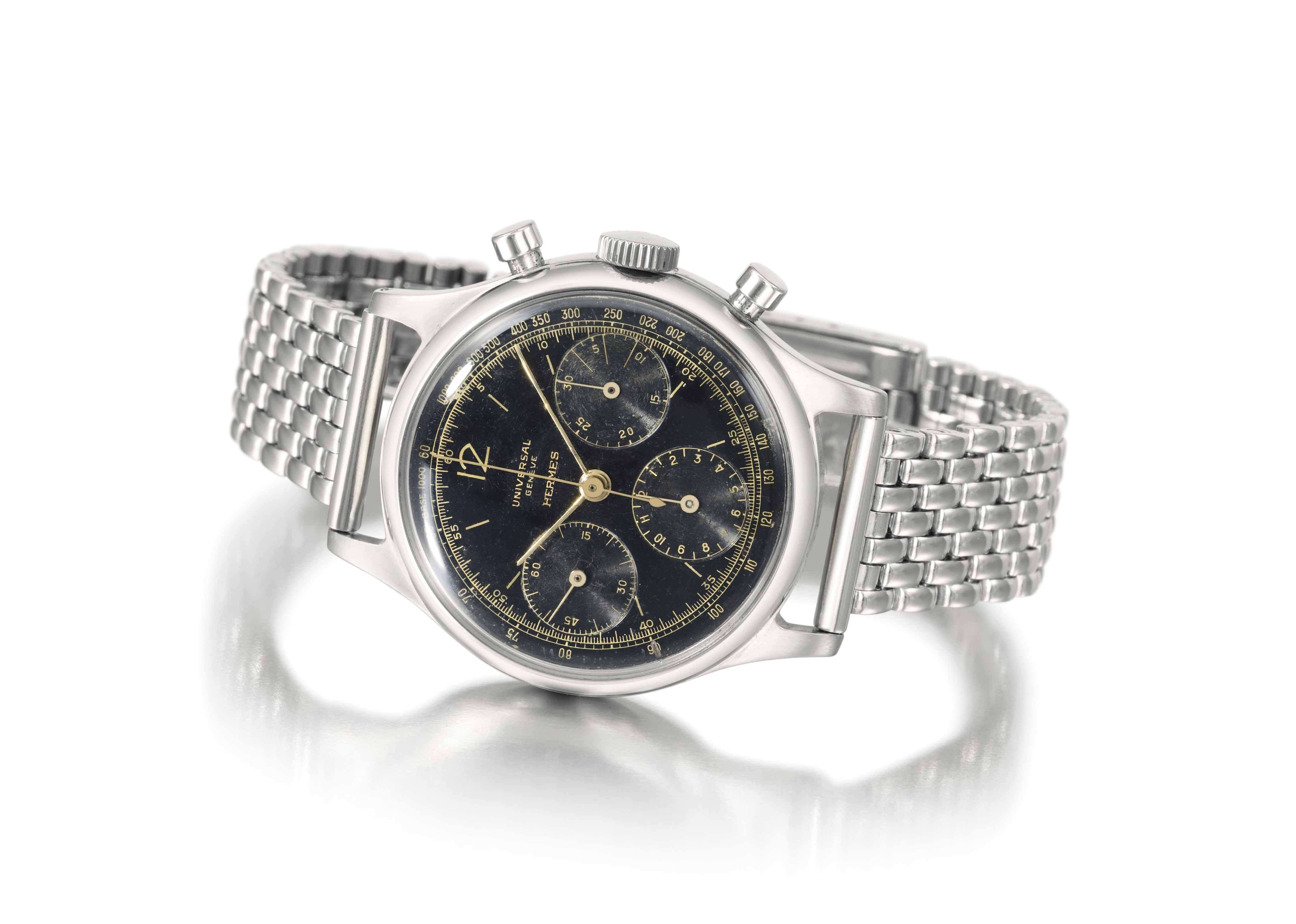 Universal. A rare and attractive stainless steel chronograph wristwatch with bracelet
