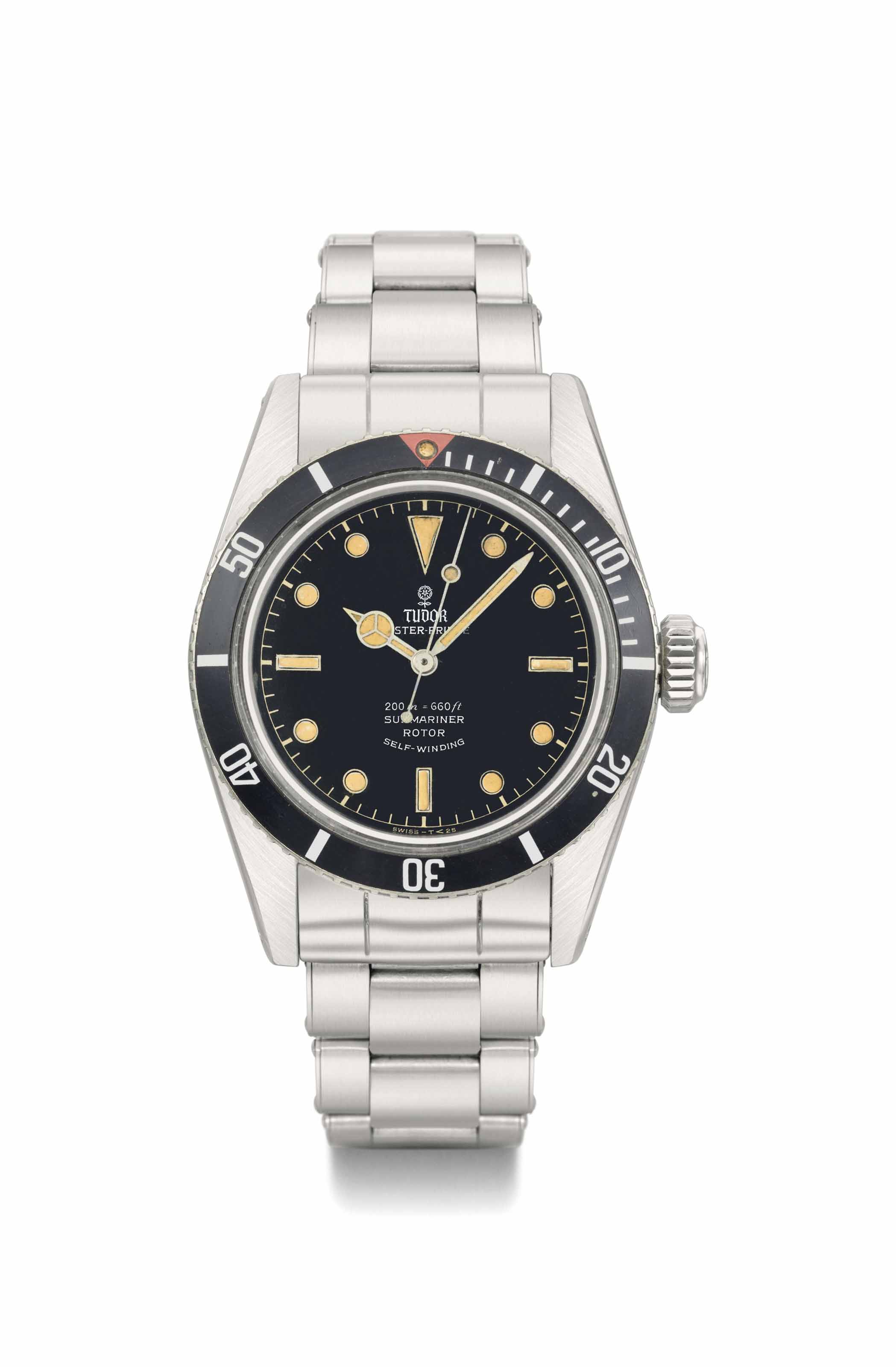 Tudor. A fine and rare stainless steel automatic wristwatch with sweep centre seconds and bracelet