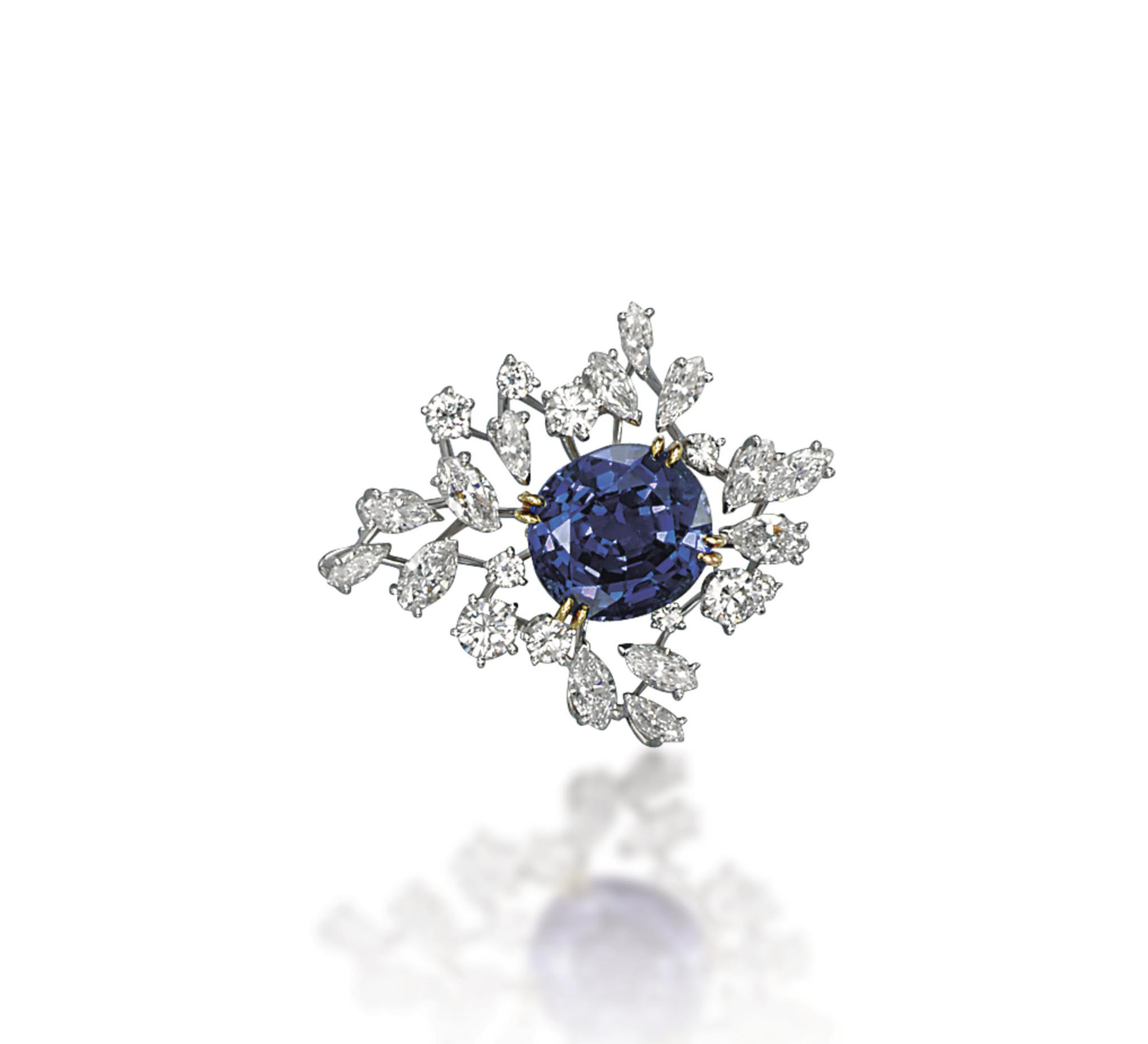 A SAPPHIRE AND DIAMOND BROOCH, BY MEISTER