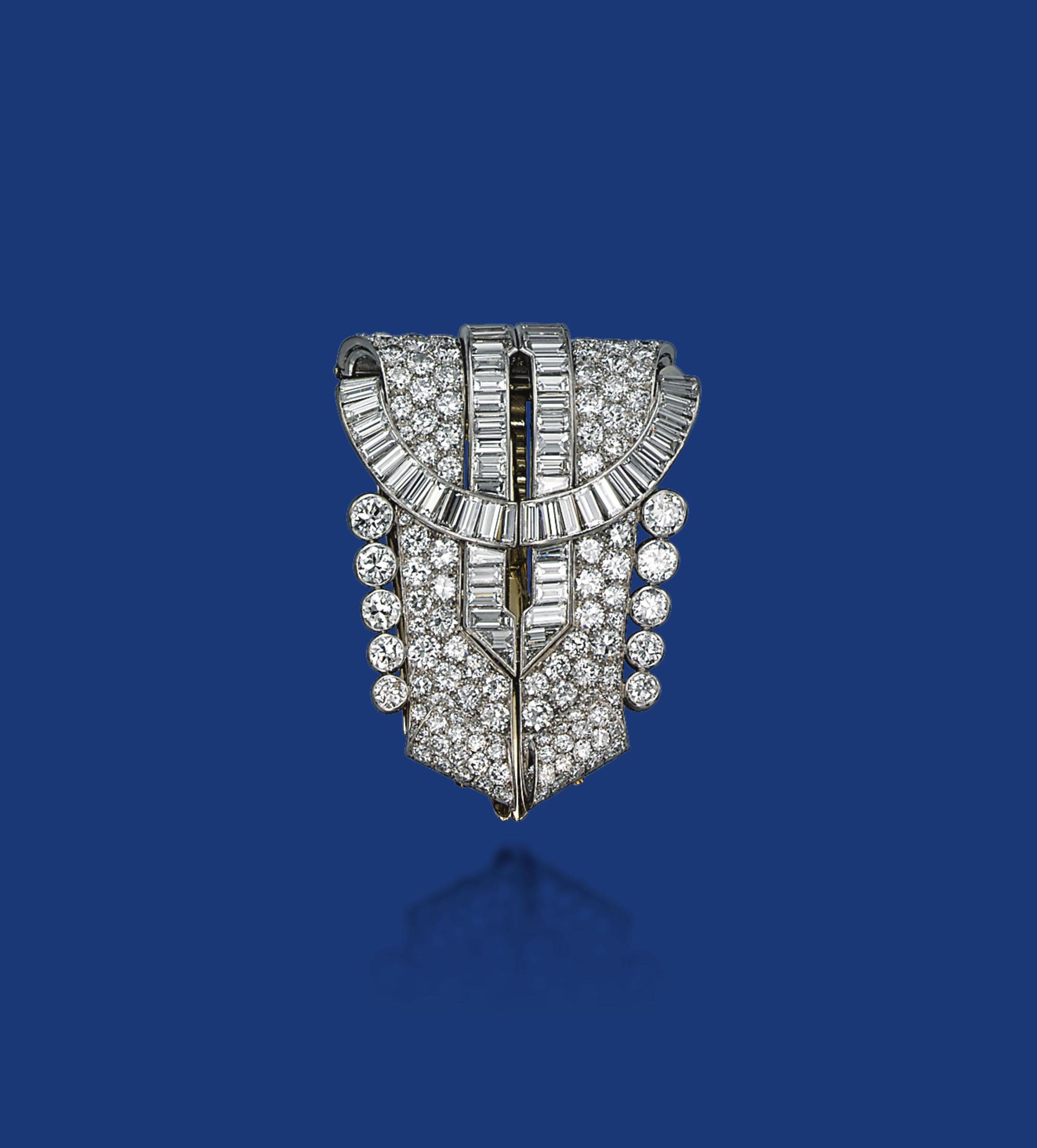 AN ART DECO DIAMOND BROOCH, BY OSTERTAG