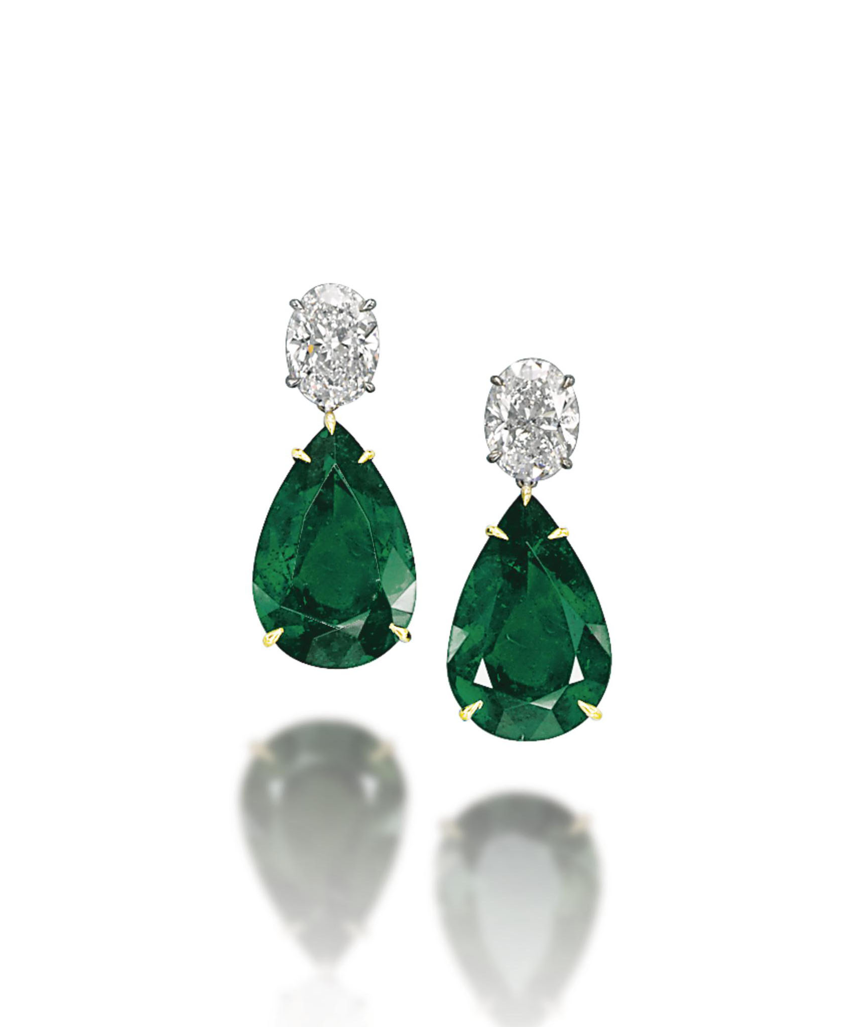 A PAIR OF EMERALD AND DIAMOND EAR PENDANTS, BY CHATILA