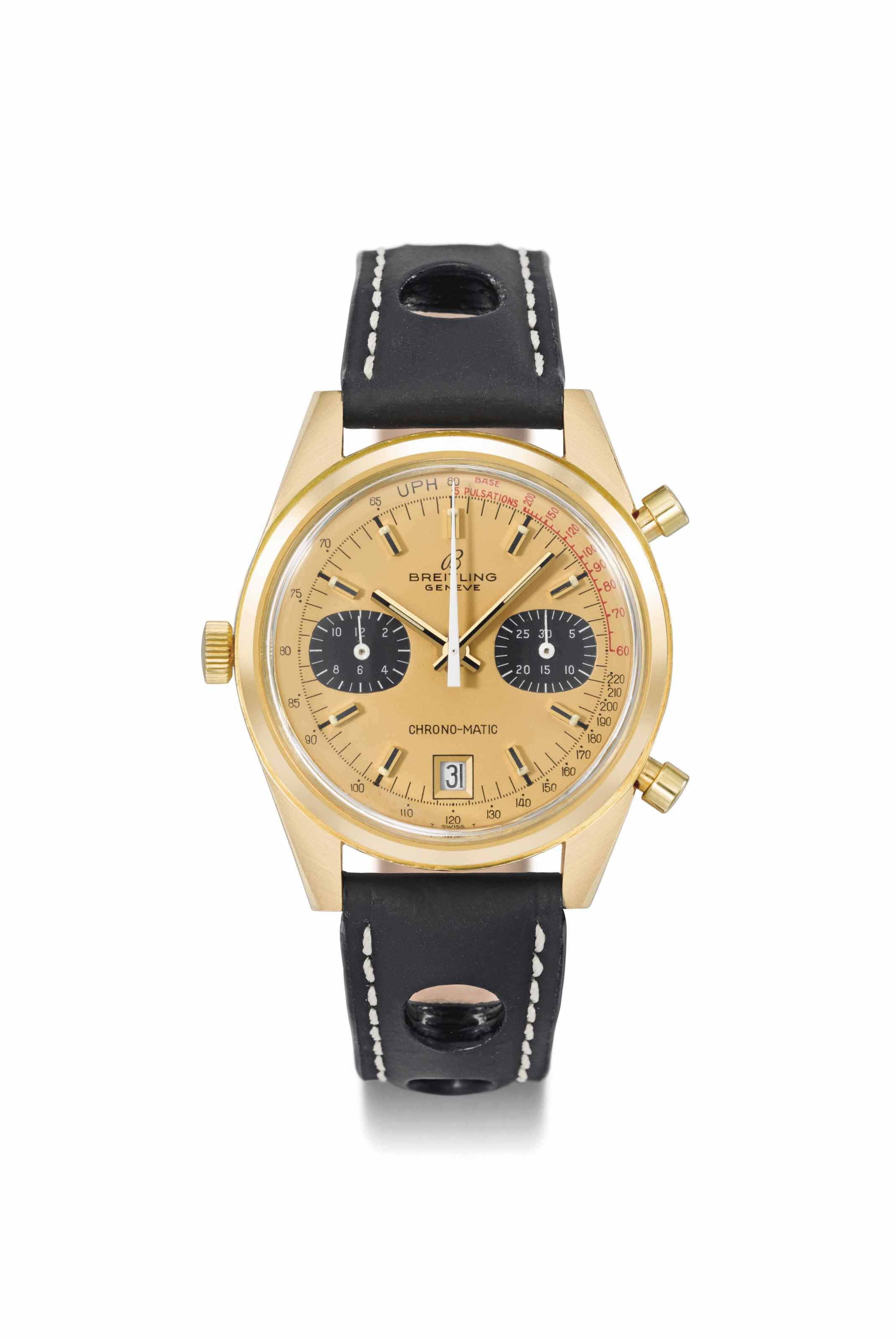 Breitling. A large, rare and very fine 18K gold automatic chronograph wristwatch with date, champagne dial and pulsometre scale