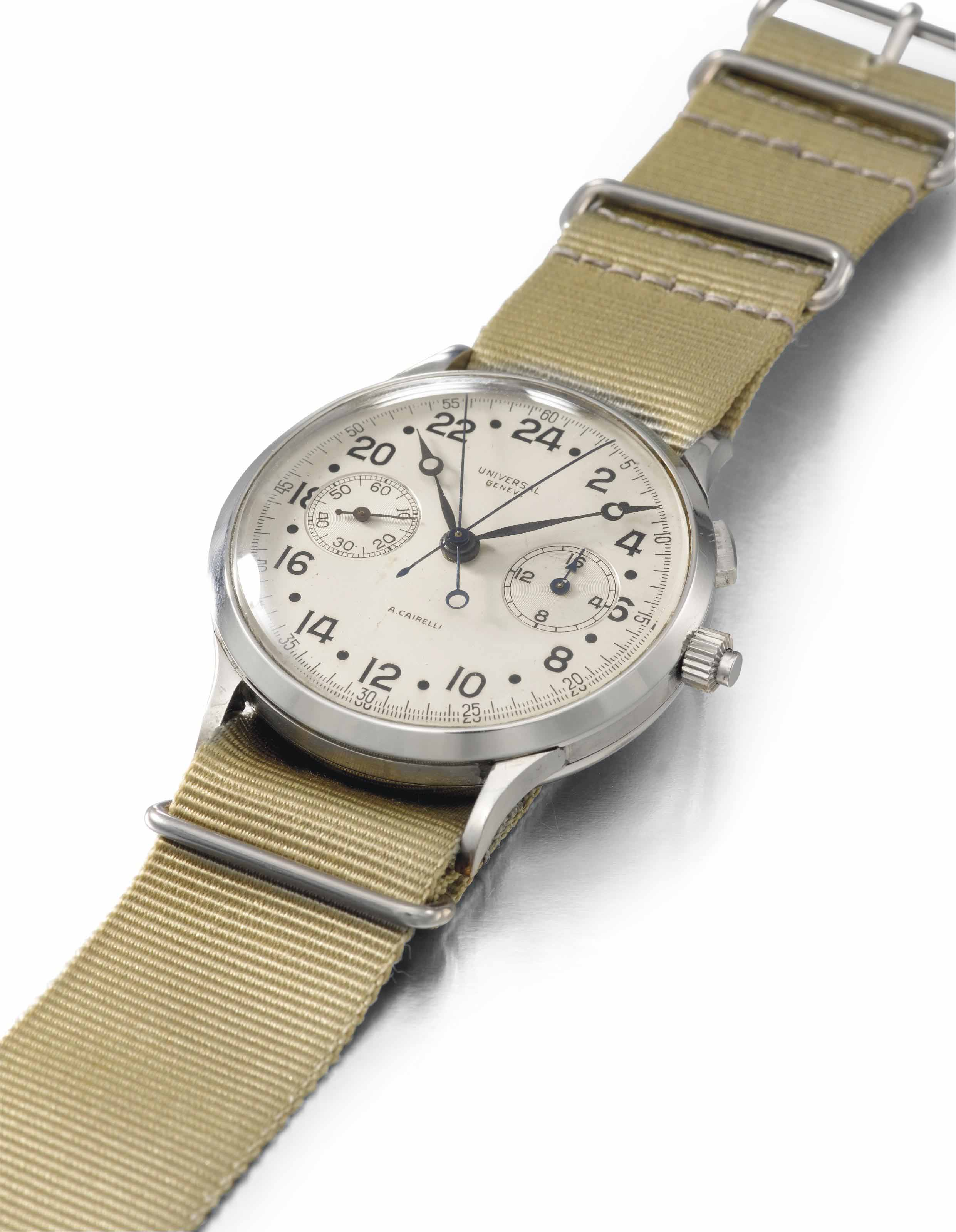 Universal. A unusual and very rare oversized stainless steel split seconds chronograph wristwatch with 24 hour dial