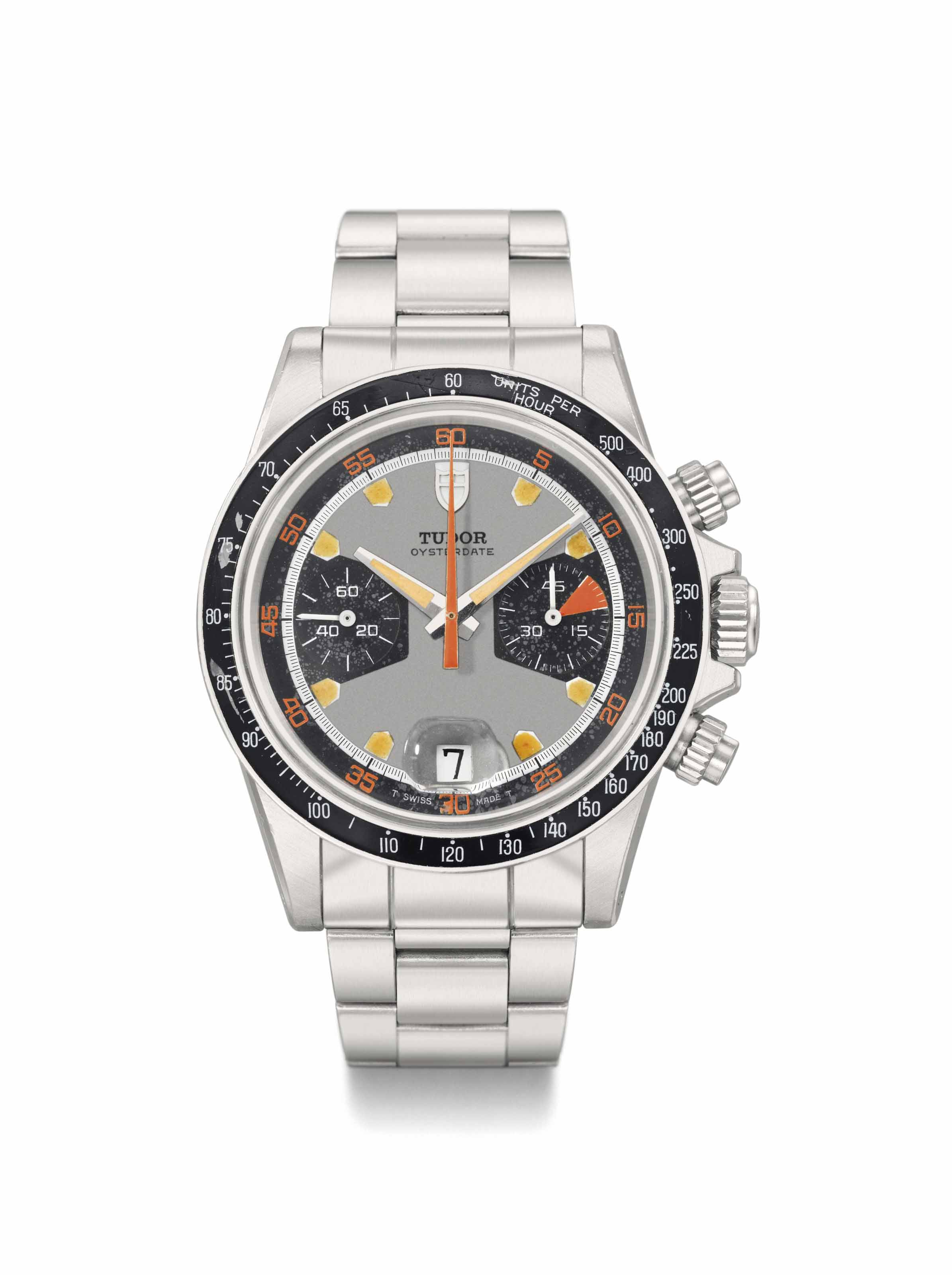 Tudor. A rare and attractive stainless steel chronograph wristwatch with date, multicolored dial and bracelet