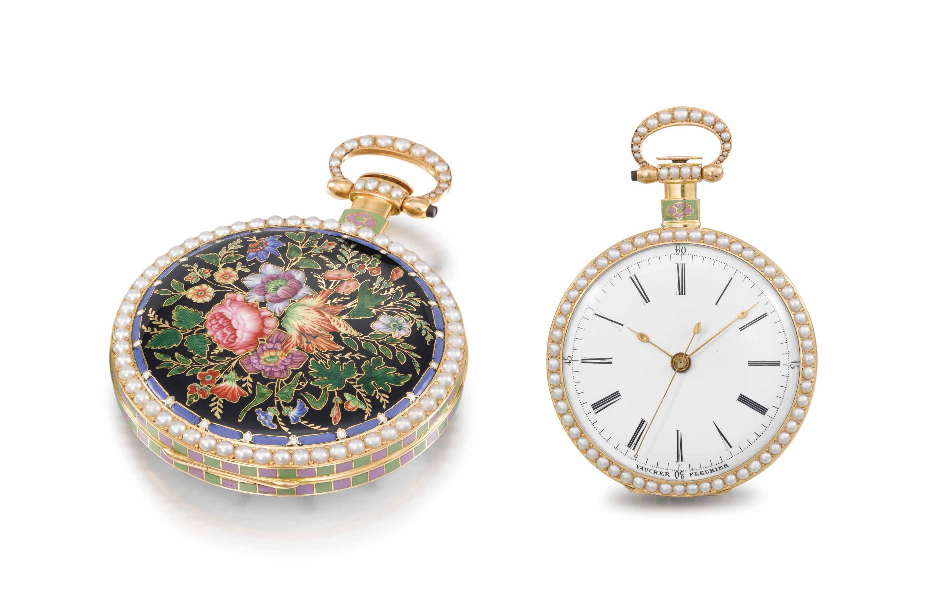 Vaucher Fleurier. An extremely fine, rare and decorative 18K gold, enamel and pearl-set openface centre seconds cylinder watch, made for the Chinese market