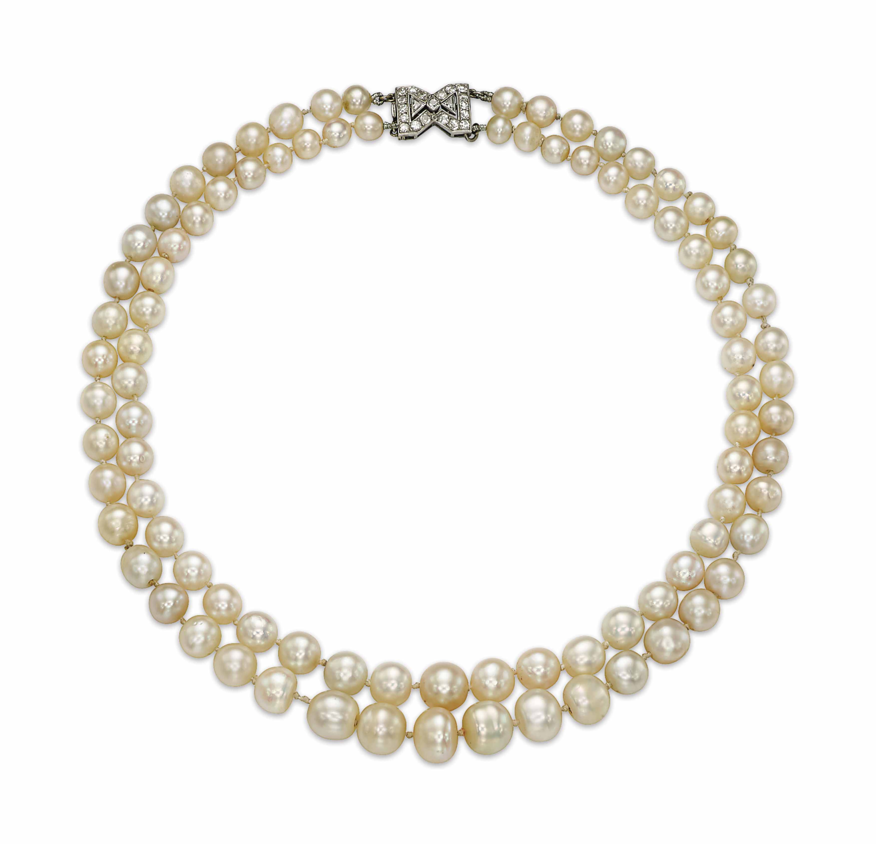 AN ART DECO NATURAL PEARL AND DIAMOND NECKLACE, BY CHAUMET