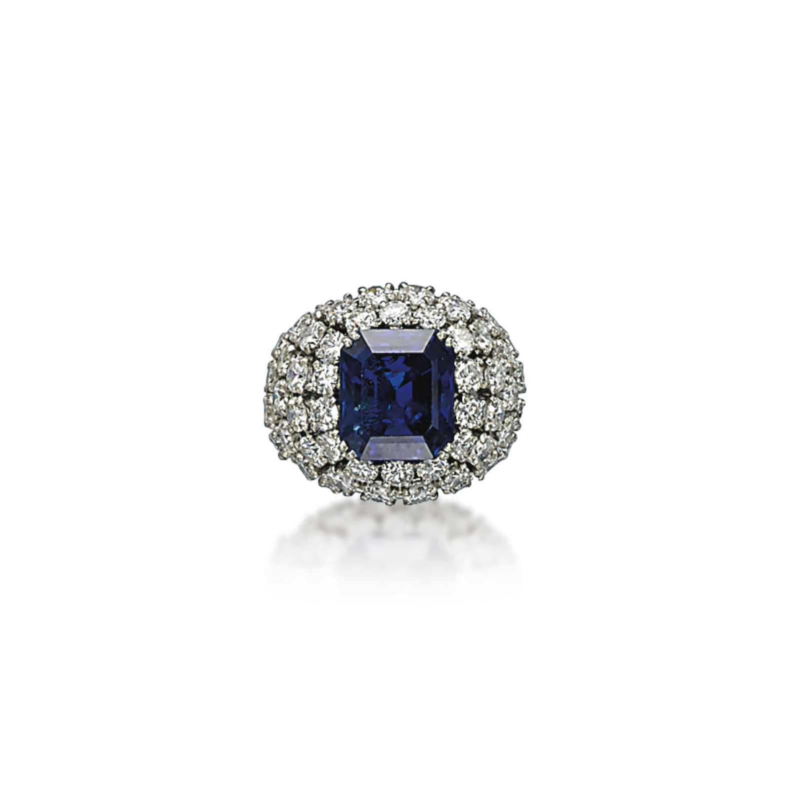 A SAPPHIRE AND DIAMOND RING, BY MARCHAK