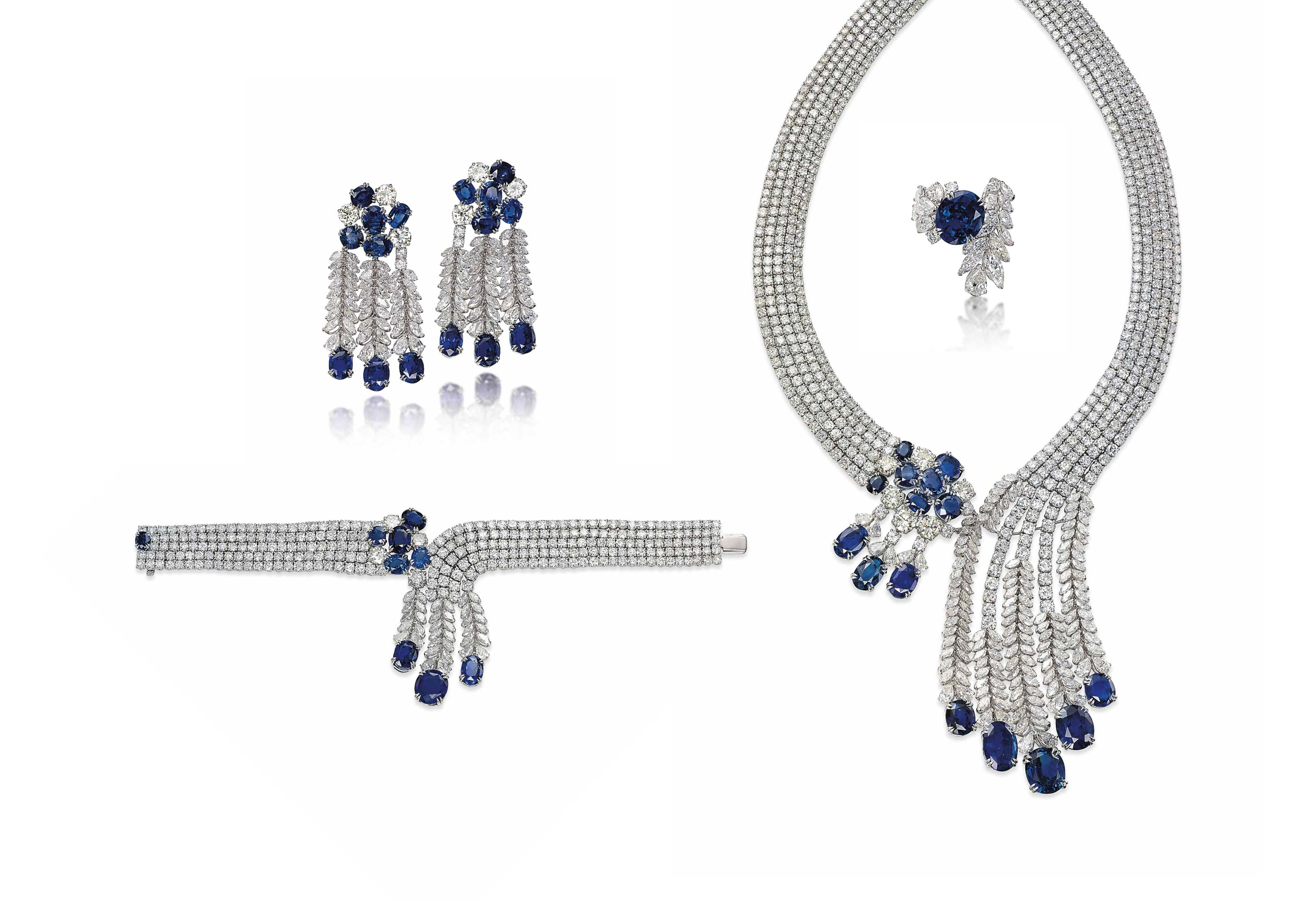 A SUITE OF SAPPHIRE AND DIAMOND JEWELLERY, BY JAHAN