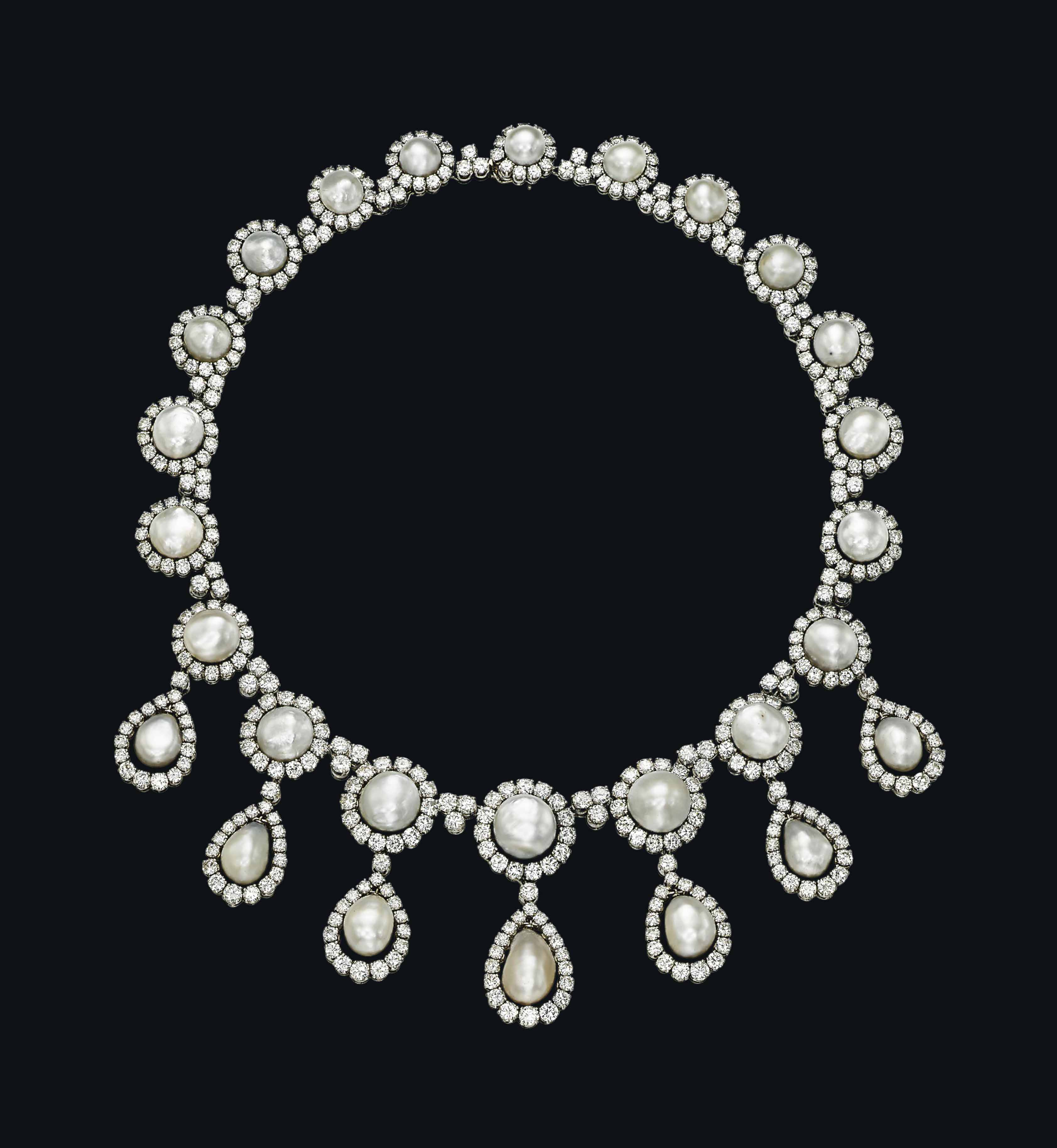 A NATURAL PEARL AND DIAMOND NECKLACE, BY CHANTECLER