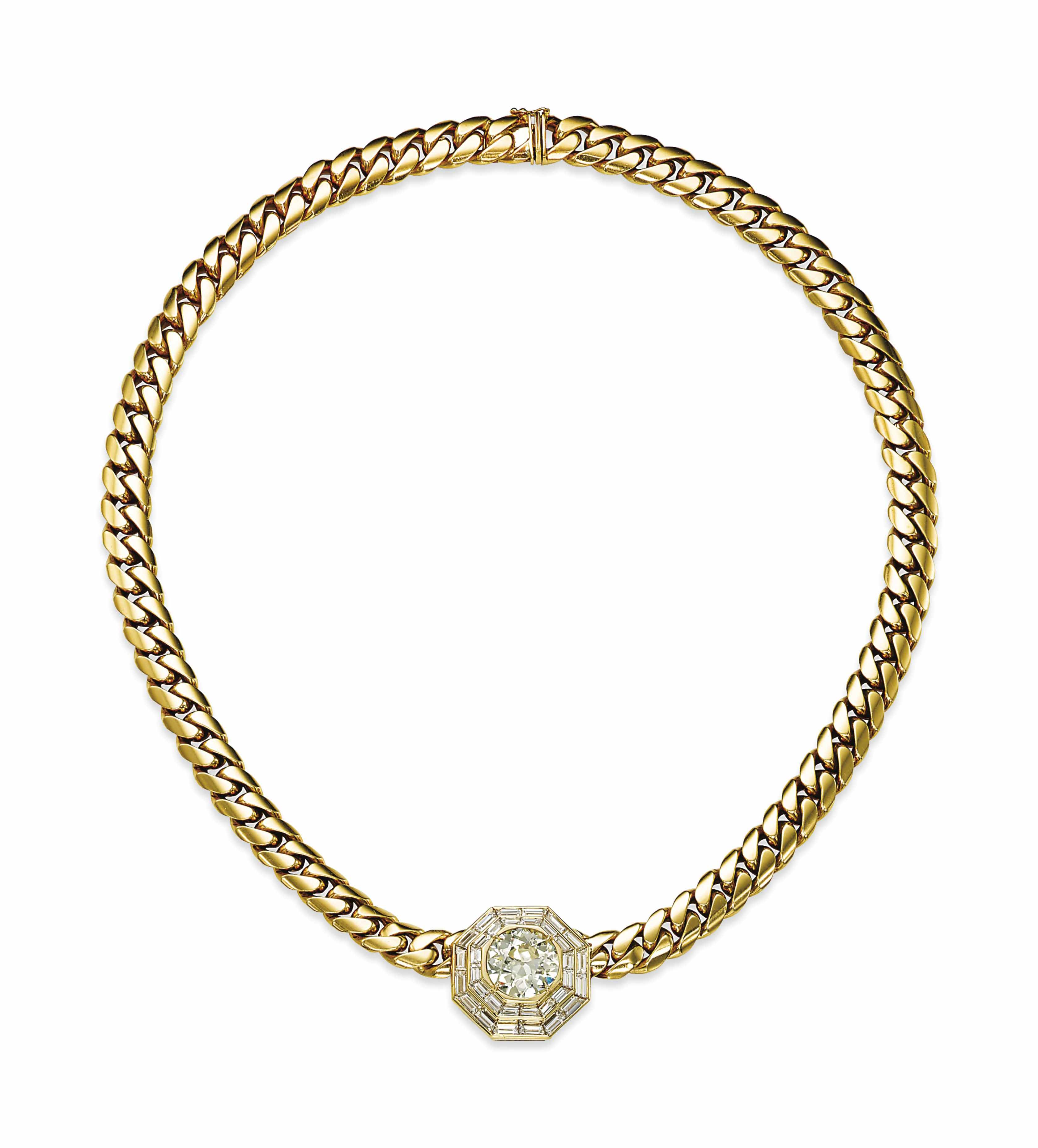 A GOLD AND DIAMOND NECKLACE, BY ADLER