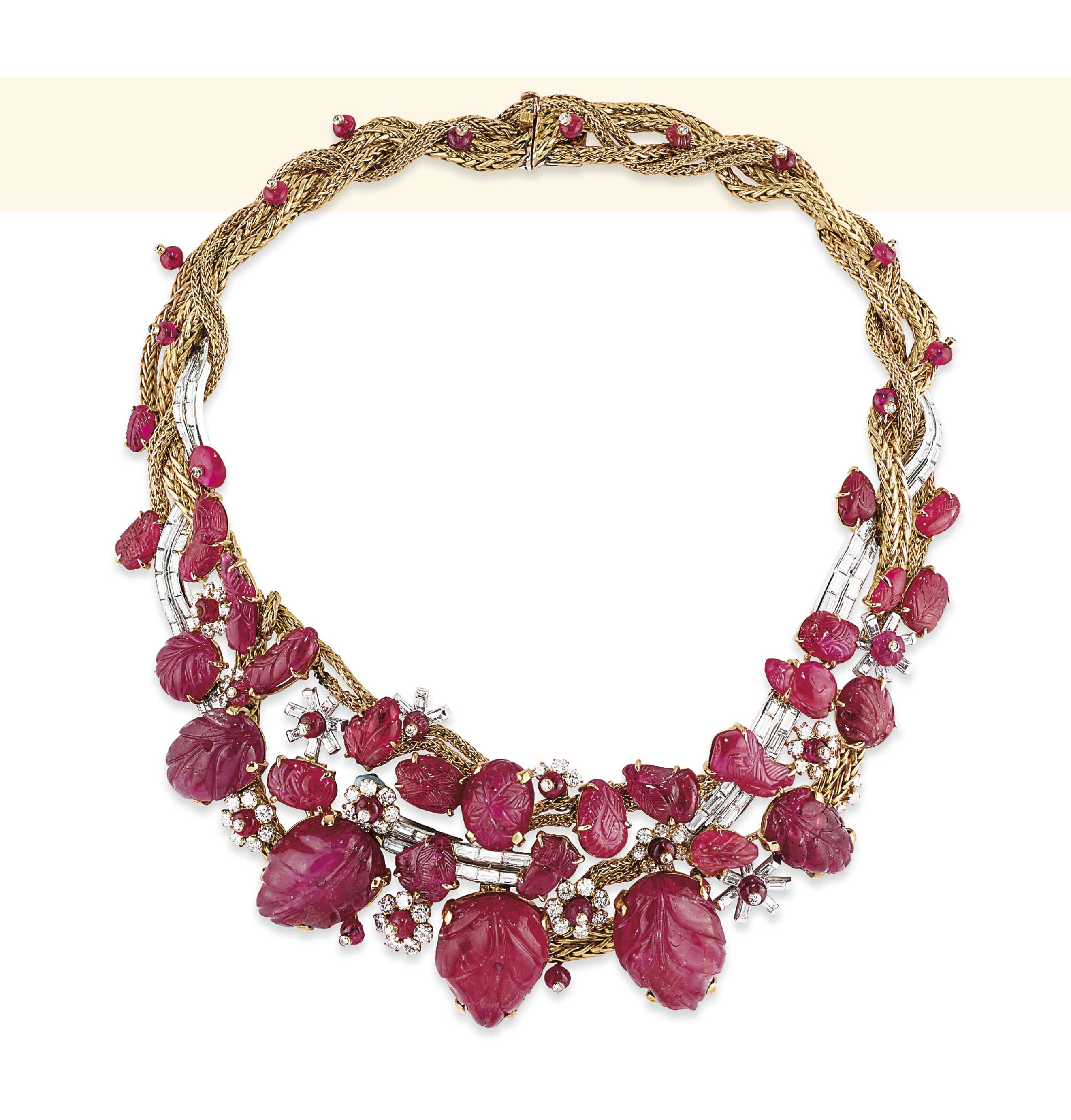 A RETRO RUBY AND DIAMOND NECKLACE, BY MARCHAK